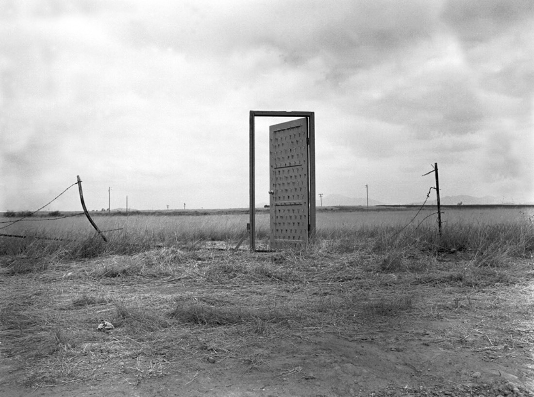 Richard Lou, Border Door, 1988, photo document of a site specific installation/ performance/ intervention