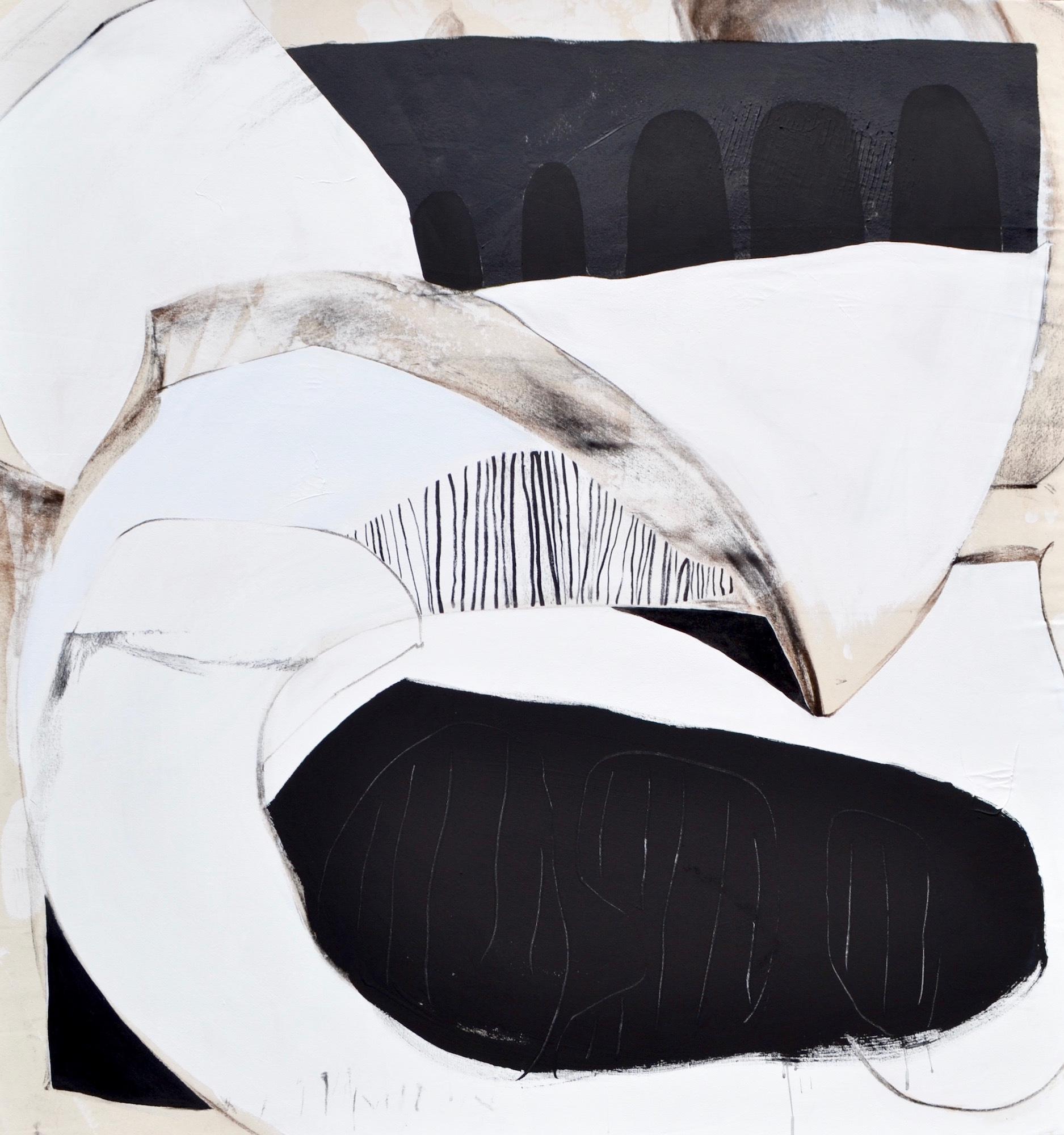 "Lindsy Davis, Buried Secret Shadow Friends, 2018, gesso, hand-burnt charcoal, oil marker, enamel, latex, 58"" x 62"" x 1.5"""