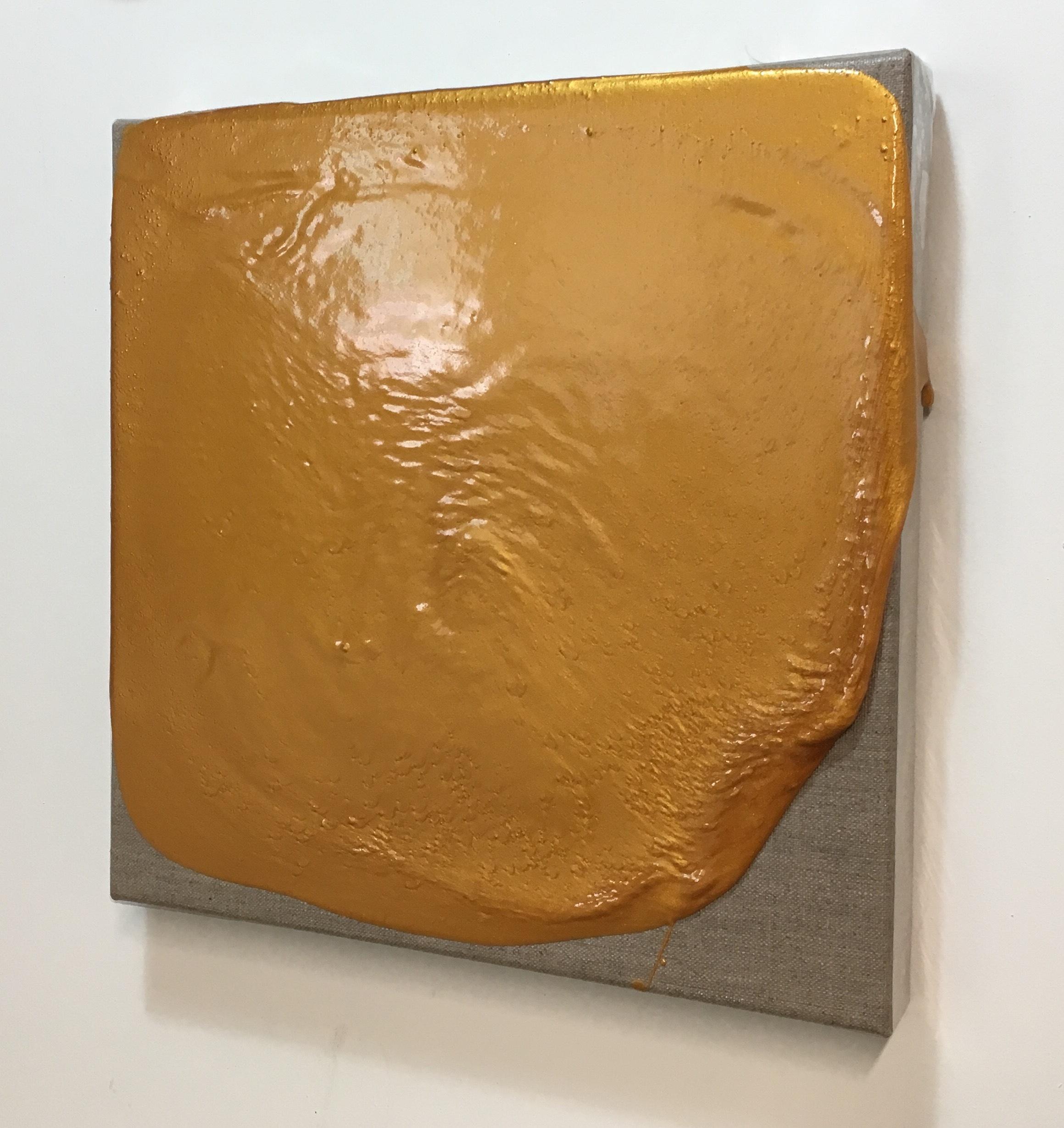 "John Tallman, Untitled (gold), metallic pigment and urethane plastic on linen, 12""x12"", 2016"