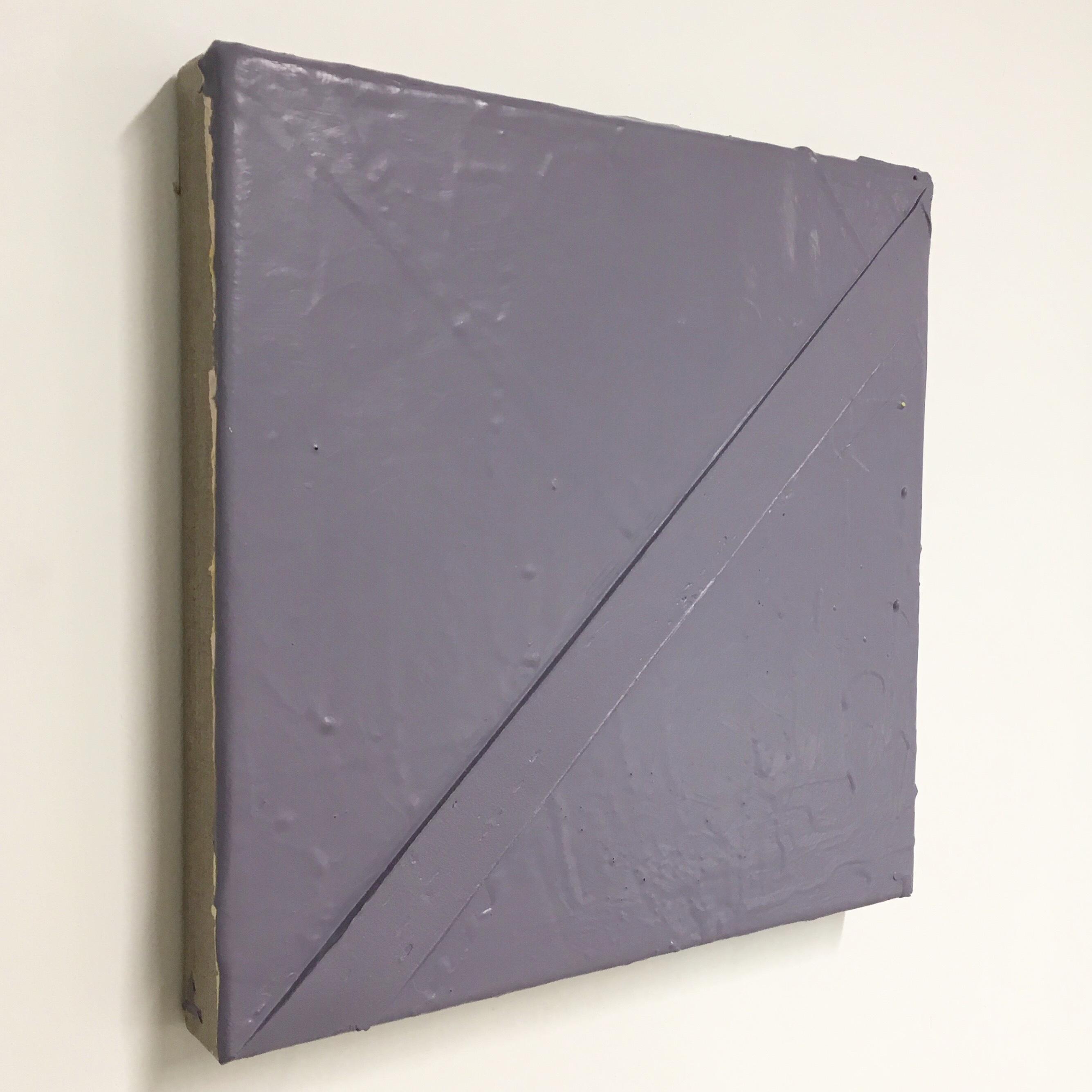 "John Tallman, Untitled (grayslant), latex paint on bondo and urethane plastic on canvas, 12""x12"", 2017"