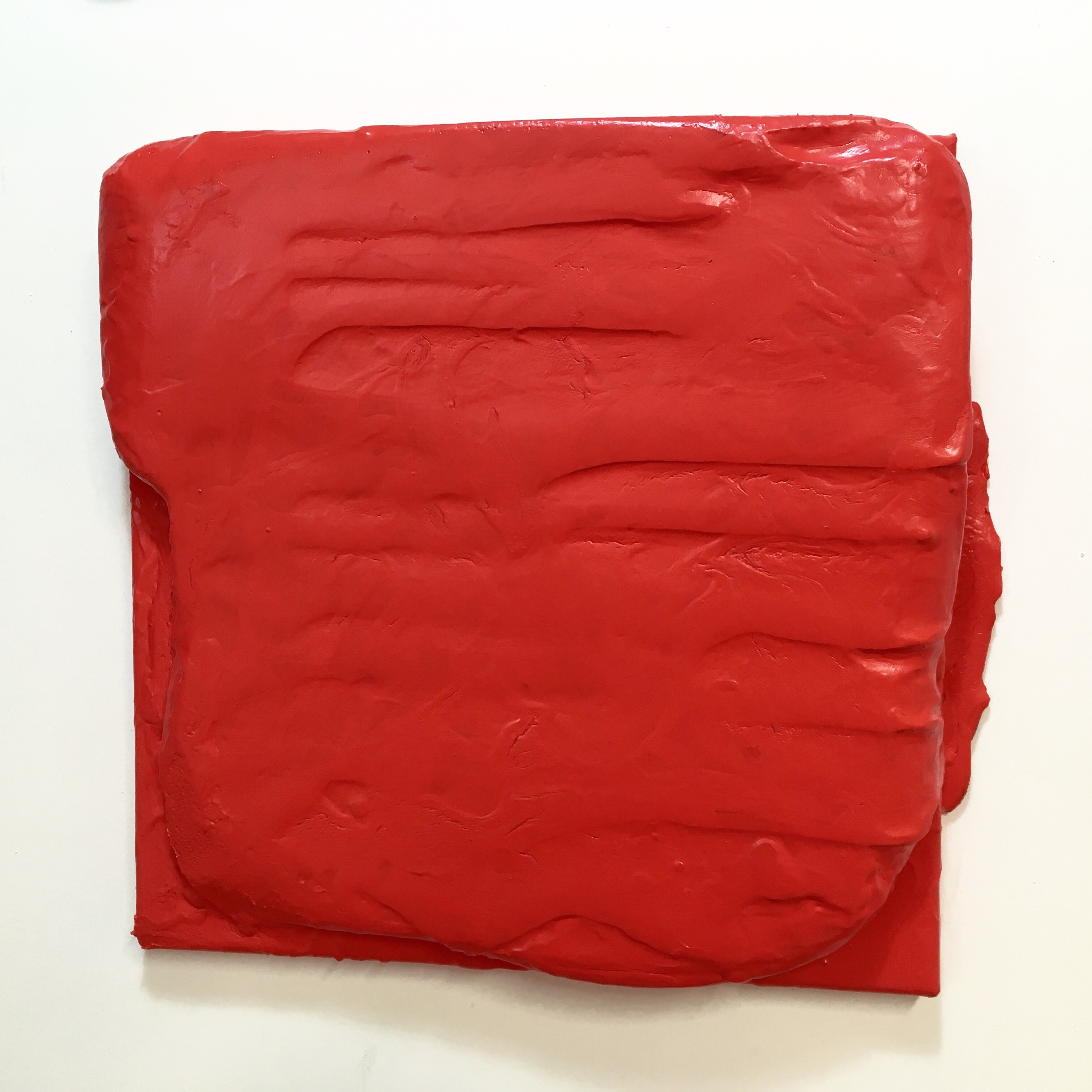 John Tallman, Untitled (red), latex paint on urethane plastic and bondo on canvas, 2017