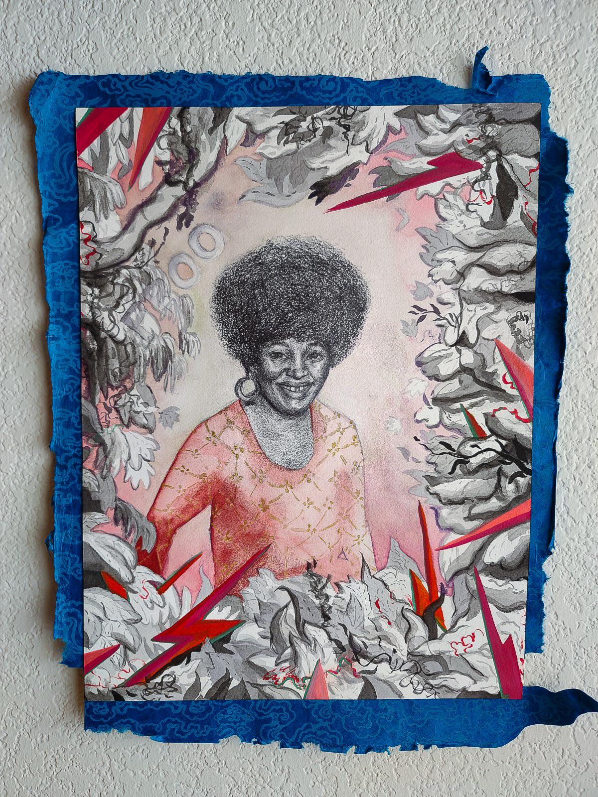 "Jonathan Adams, ""Midnight Hera/ Un-f@%!ing-touchable"" (2020) 13"" x 18"", ink on paper, decorative paper"