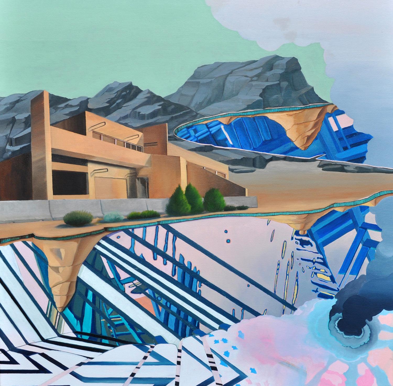 """Nick Peña, Arrows to Atoms, 2015, 40"""" x 40"""", oil on canvas"""