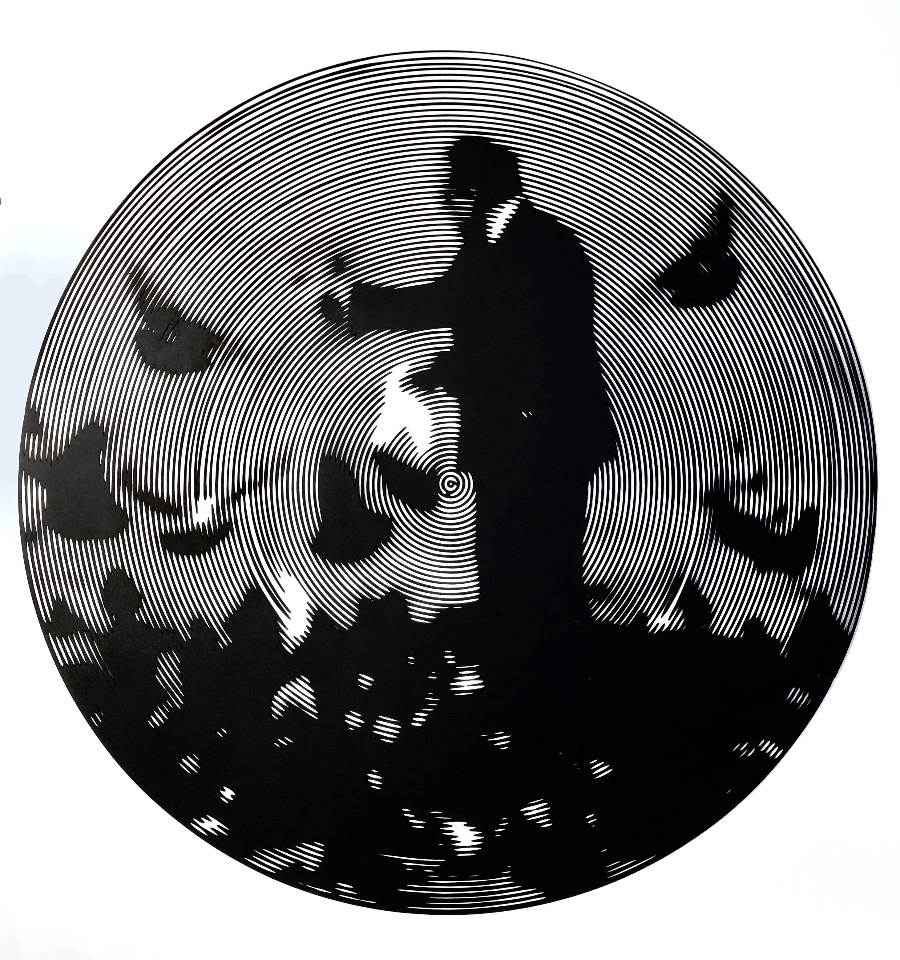 Nelson Gutierrez, Pigeon Man, 2019, 31 inches in diameter, cutout cotton mat board