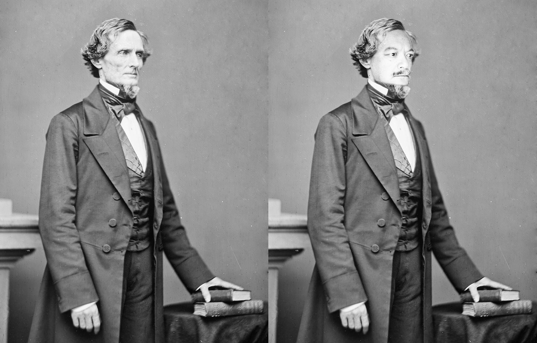 Richard Lou, 2016, the artist as President of the Confederacy Jefferson Davis, stereoscope photo