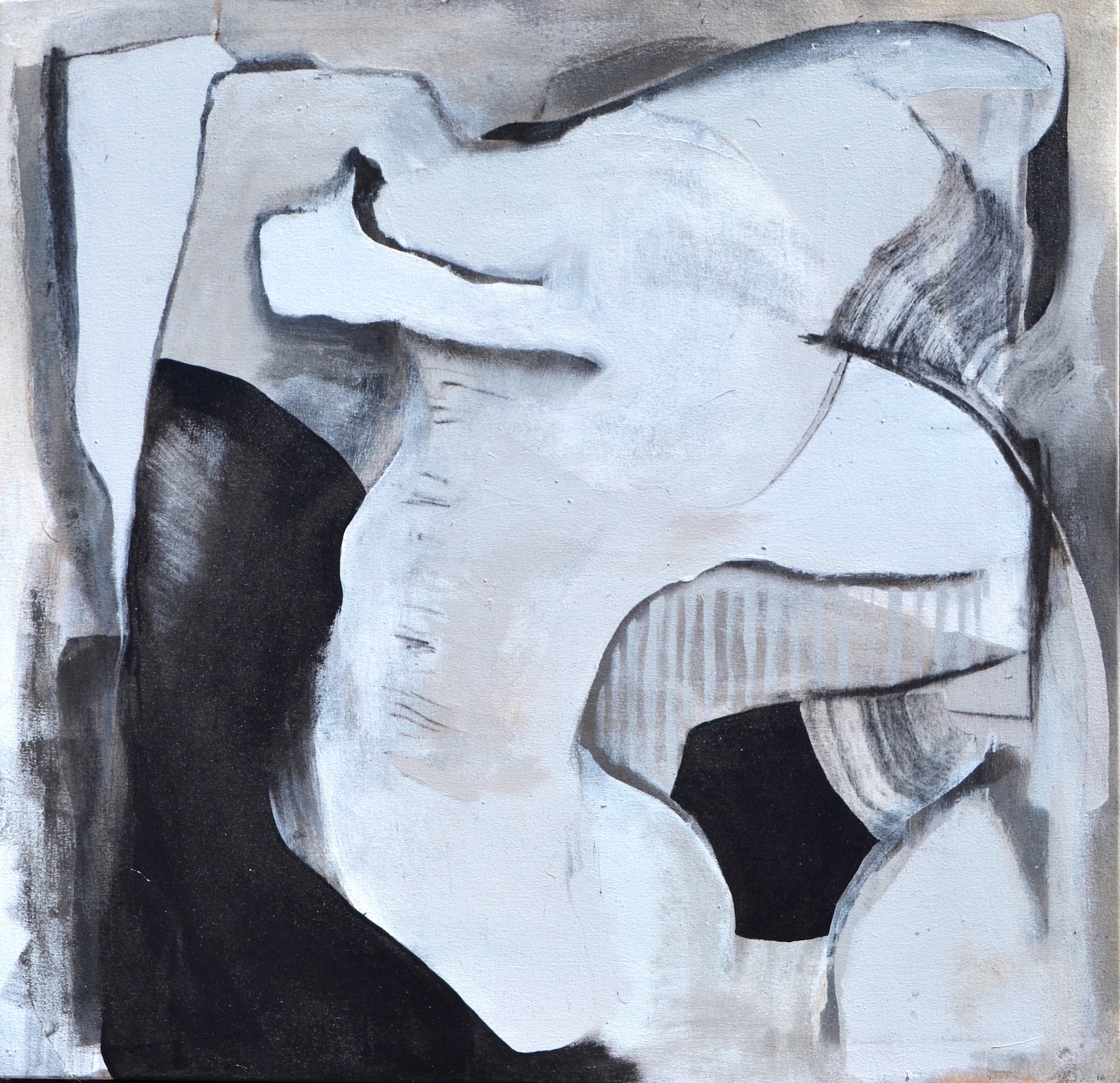 "Lindsy Davis, Untitled, 2015, gesso, latex, enamel, hand-burnt charcoal, 40"" x 40"" x 1.5"""