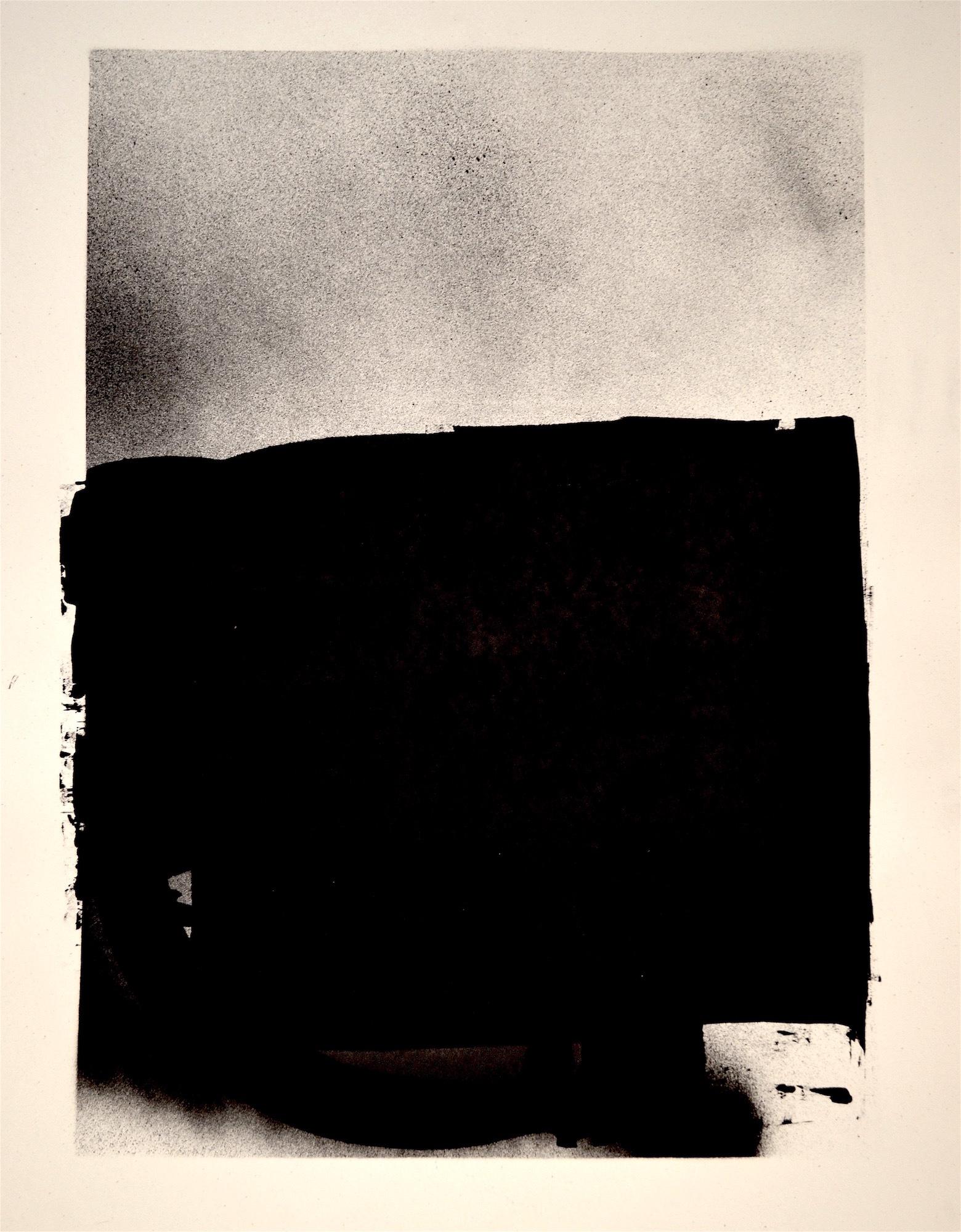 "Lindsy Davis, Work On Paper, 2020, spray paint, gesso, 18"" x 24"""