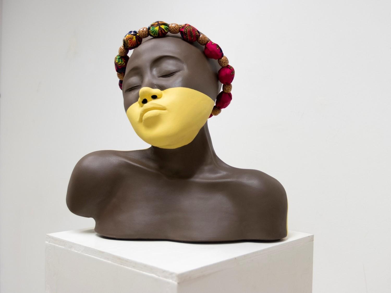 """Nyasha Madamombe, Zuva, 2019, ceramics, beads, 13.5"""" x 13.5"""" x 4.5"""""""