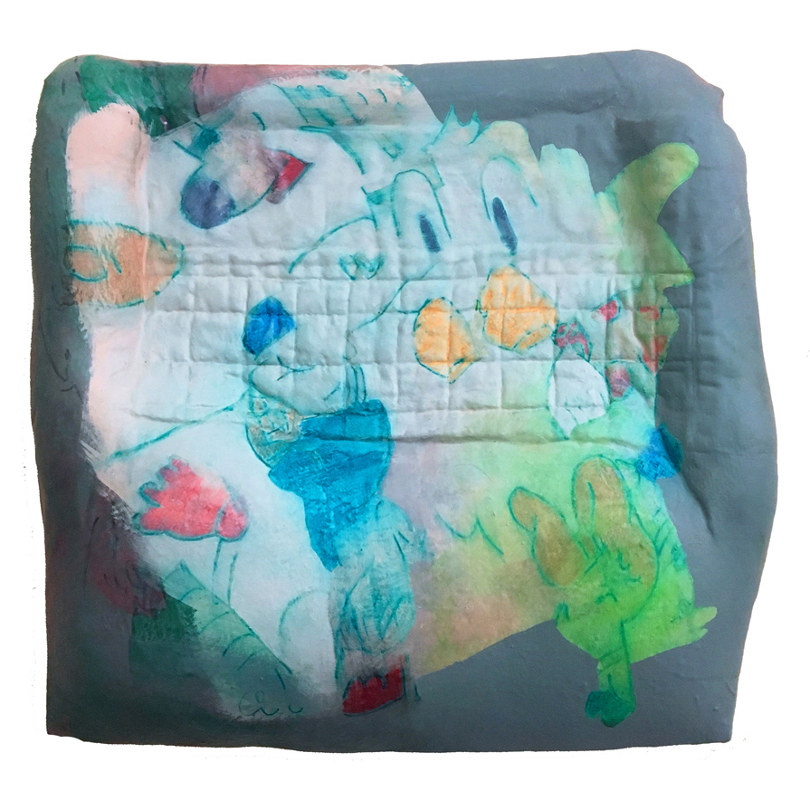 "Amelia Briggs, Inflatable 3, 2017, acrylic and latex on stuffed fabric over shaped panel, 13x13x1.5"""
