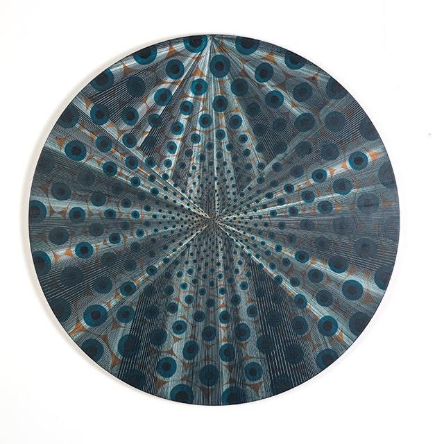 "Kelly S. Williams, Little Blue Eyes Acrylic, vinyl oil on wood, 29"" diameter, 2017"