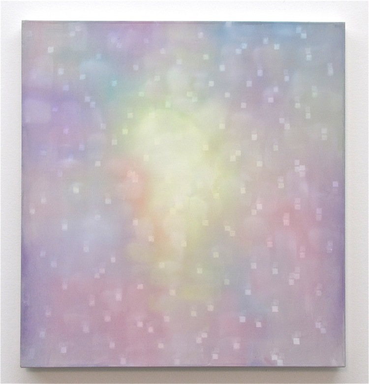 "Heather Hartman, The Ecstasy of an Unformed Saint, oil, acrylic, and gouache on paper and polyester mesh, 16"" x 15"", 2012"