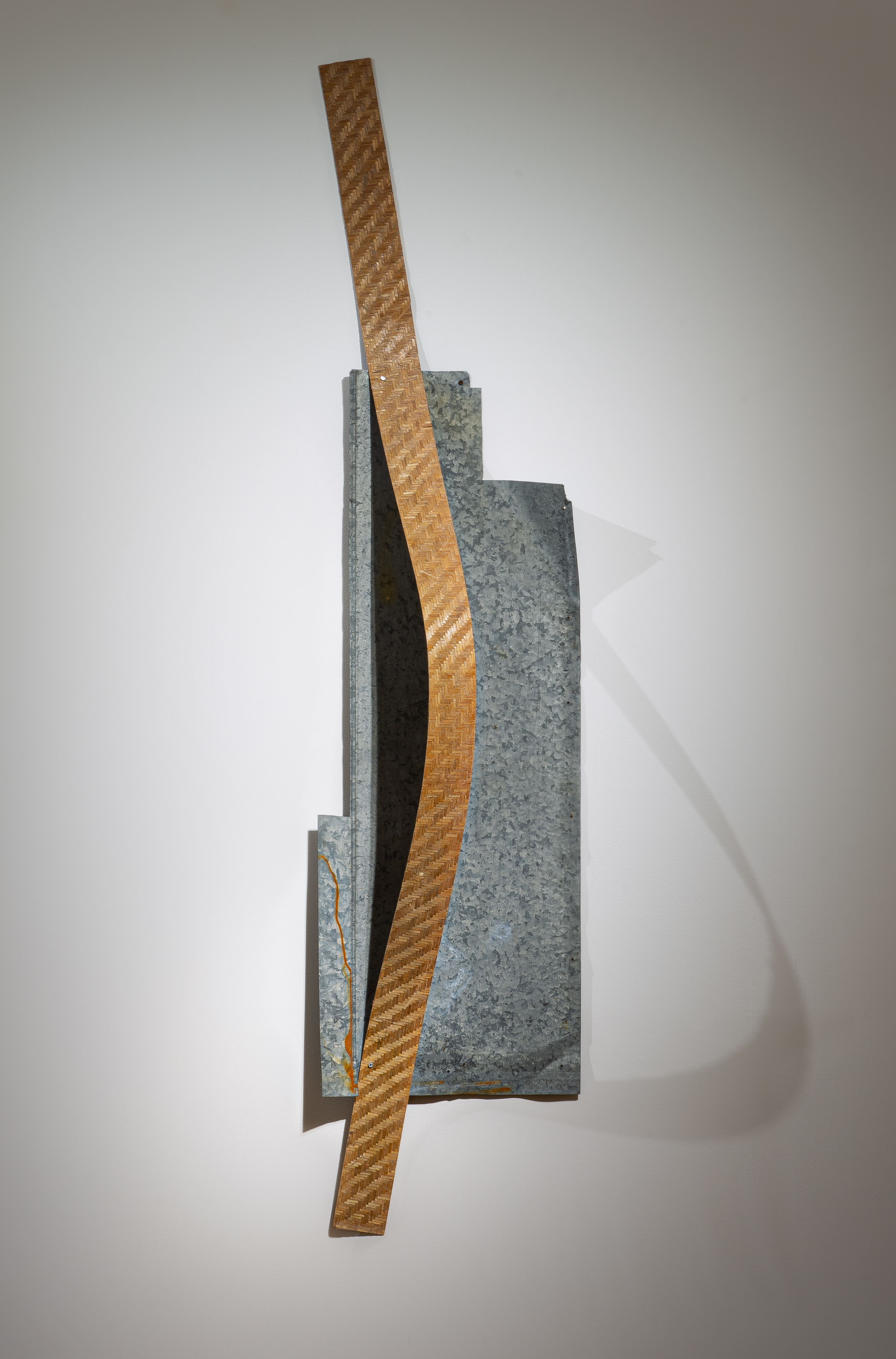 """Tracy Treadwell, Speck and Weave, Song for Three, 2021 (9"""" x 79"""" x 3"""") painted aluminum, steel grate"""