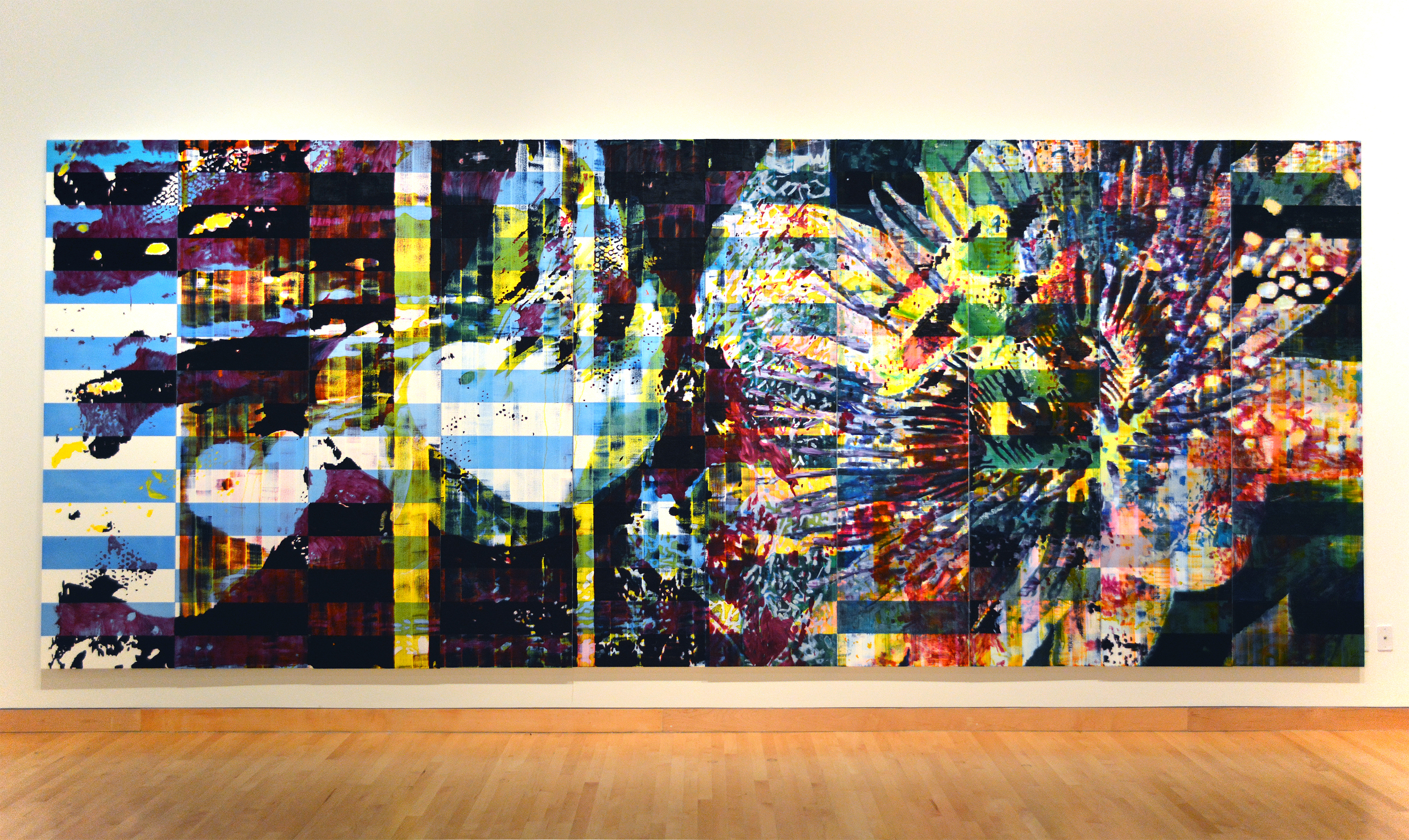 """Jered Sprecher, A Plane is a Pocket in the Corners of the Mind, 96"""" x 240"""", oil on canvas, 2014. (Courtesy of Artist)"""