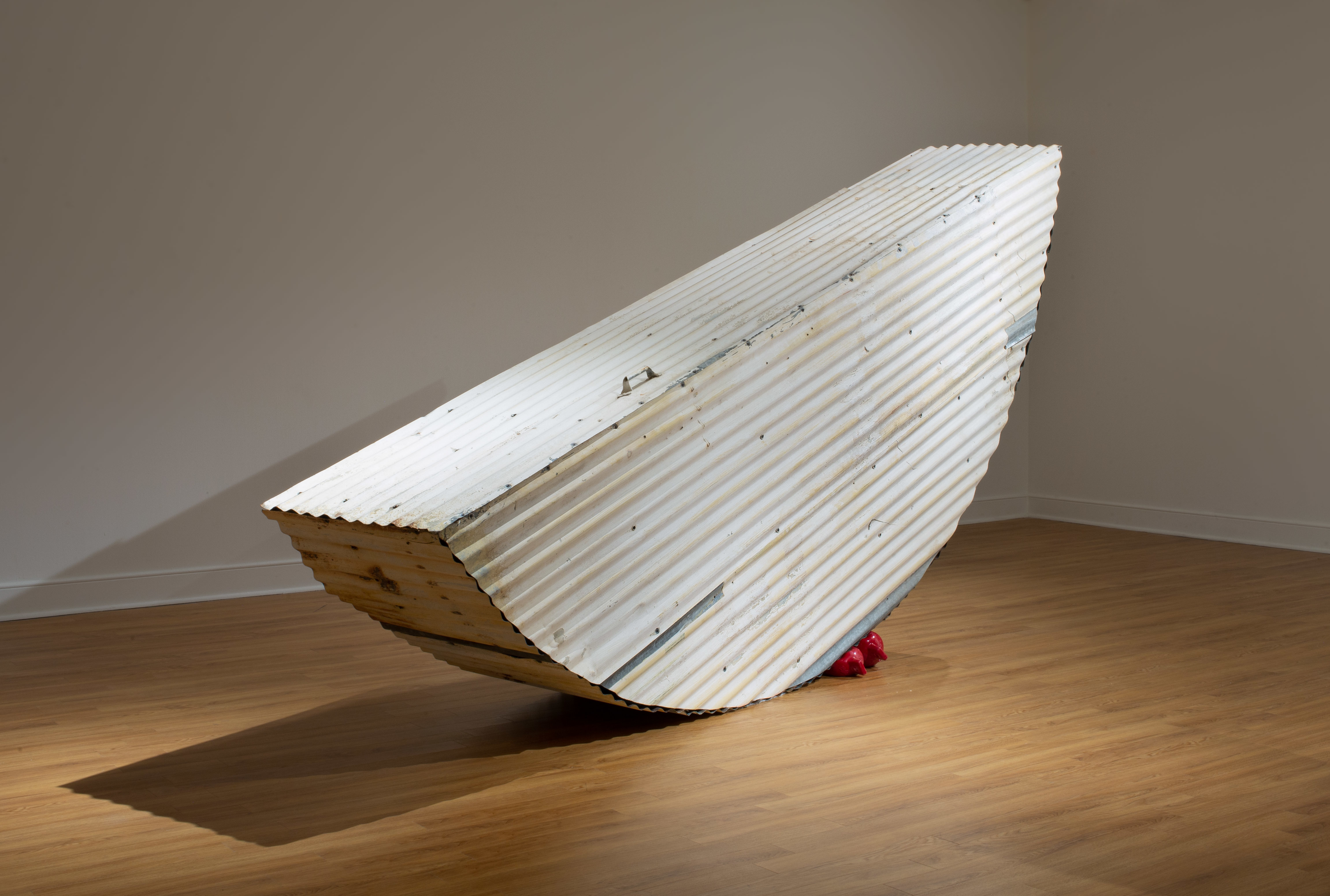 """Tracy Treadwell, Fawn on the Water, 2020 (76"""" x 146"""" x 26"""") painted corrugated tin, steel, pine, polyform boat fender"""