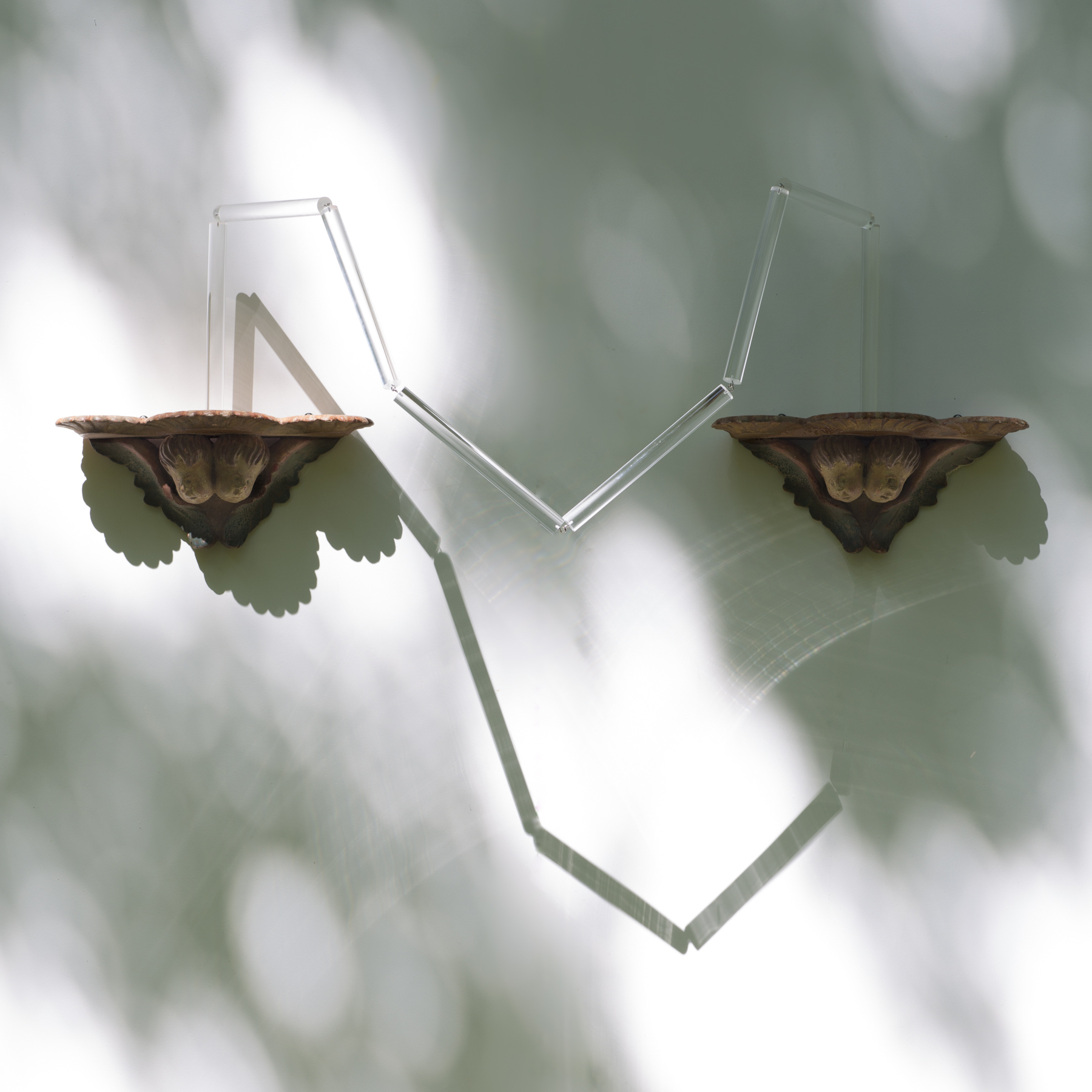 """Tracy Treadwell, Heralds and Their Spires, 2020 (16"""" x 49"""" x 18"""") Cherub shelves, polycarbonate rod"""
