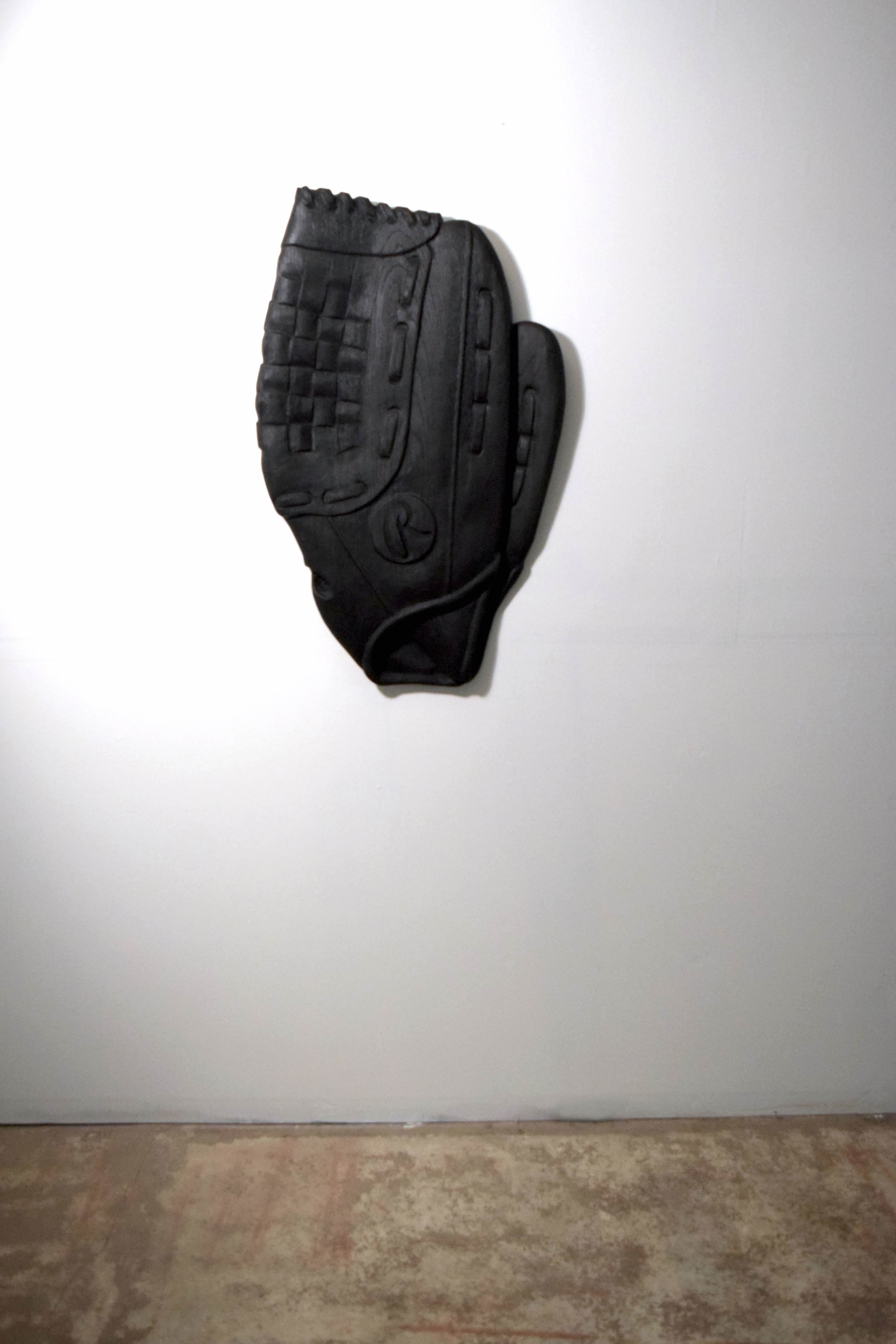 "Raymond Padrón, ""Ball Glove"", oxidized white oak, 2018"