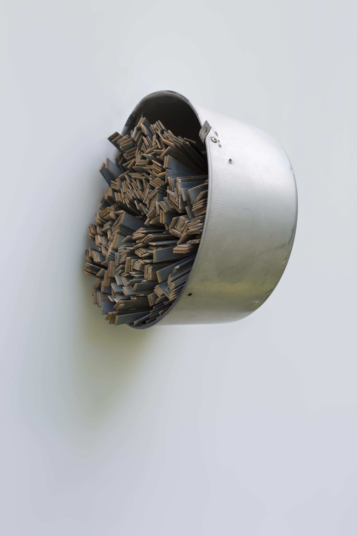 """Tracy Treadwell, Paint the Shuttered Closet, 2020 (21"""" x 19"""" x 17"""") aluminum cooking pot, shutter slats"""