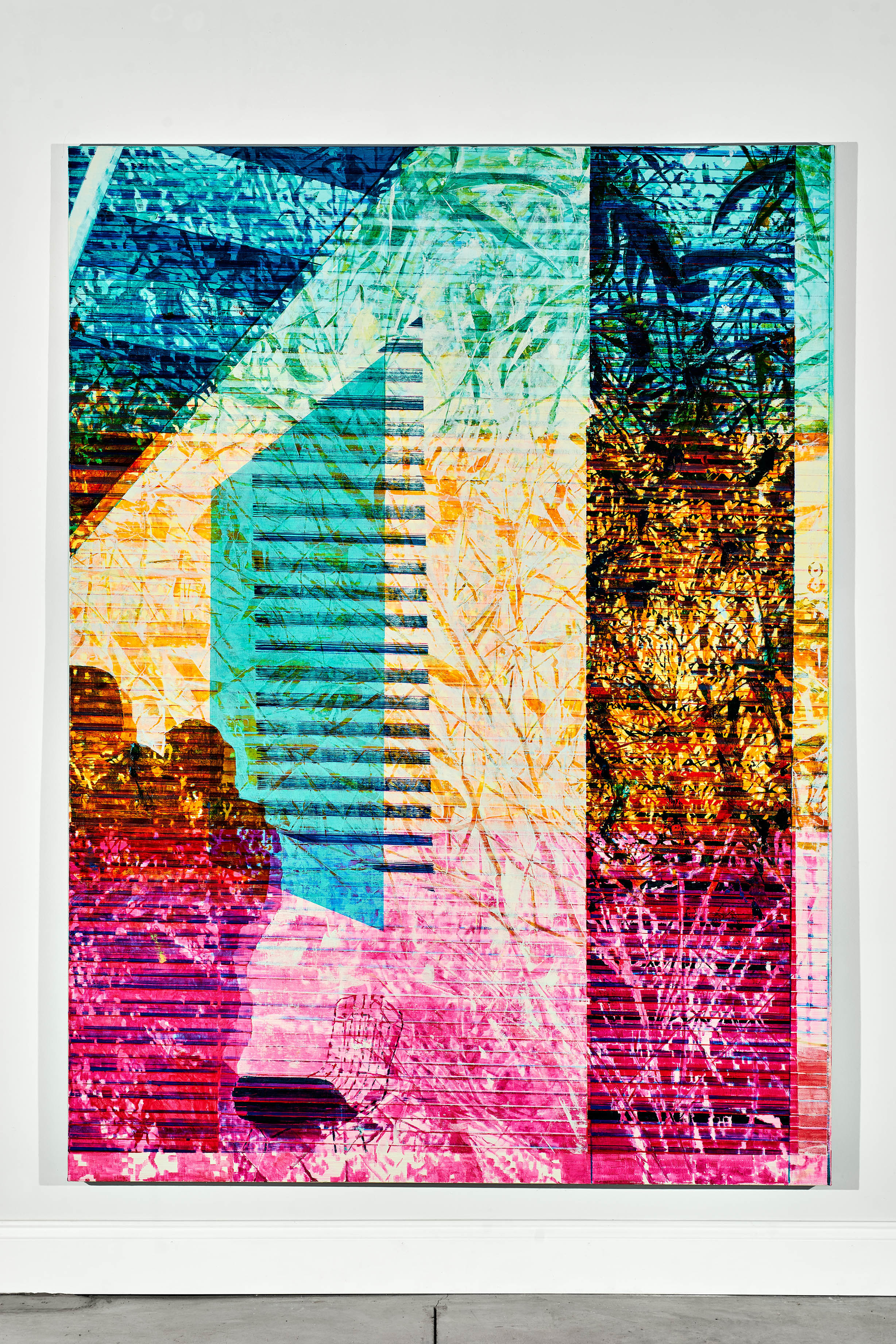 Jered Sprecher, 8.25 Minutes (detail), six oil on linen paintings, wool rug, drawings on paper, various printed images on paper, and hanging hardware, Approximate Dimensions: 20' x 16' x 10', 2017. (Courtesy of Artist)