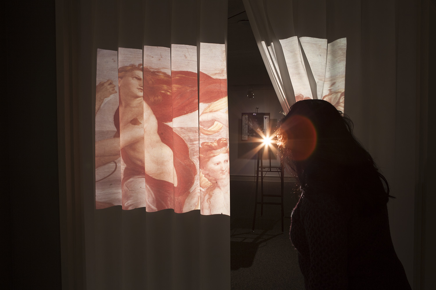 Vesna Pavlović, Fall and Folds, Photographic installation, Kodak 35mm slide projector, 80 photographic slides, rear screen fabric curtain, Installation view at Vesna Pavlović: Fall and Folds, The Columbus Museum, GA, 2017
