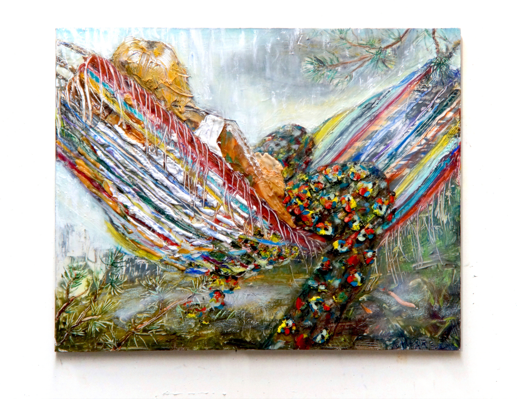 """Eleanor Aldrich, Hammock with Flower Pants, Oil, silicone and enamel on canvas and panel, Approx. 36"""" x 28"""", 2018"""
