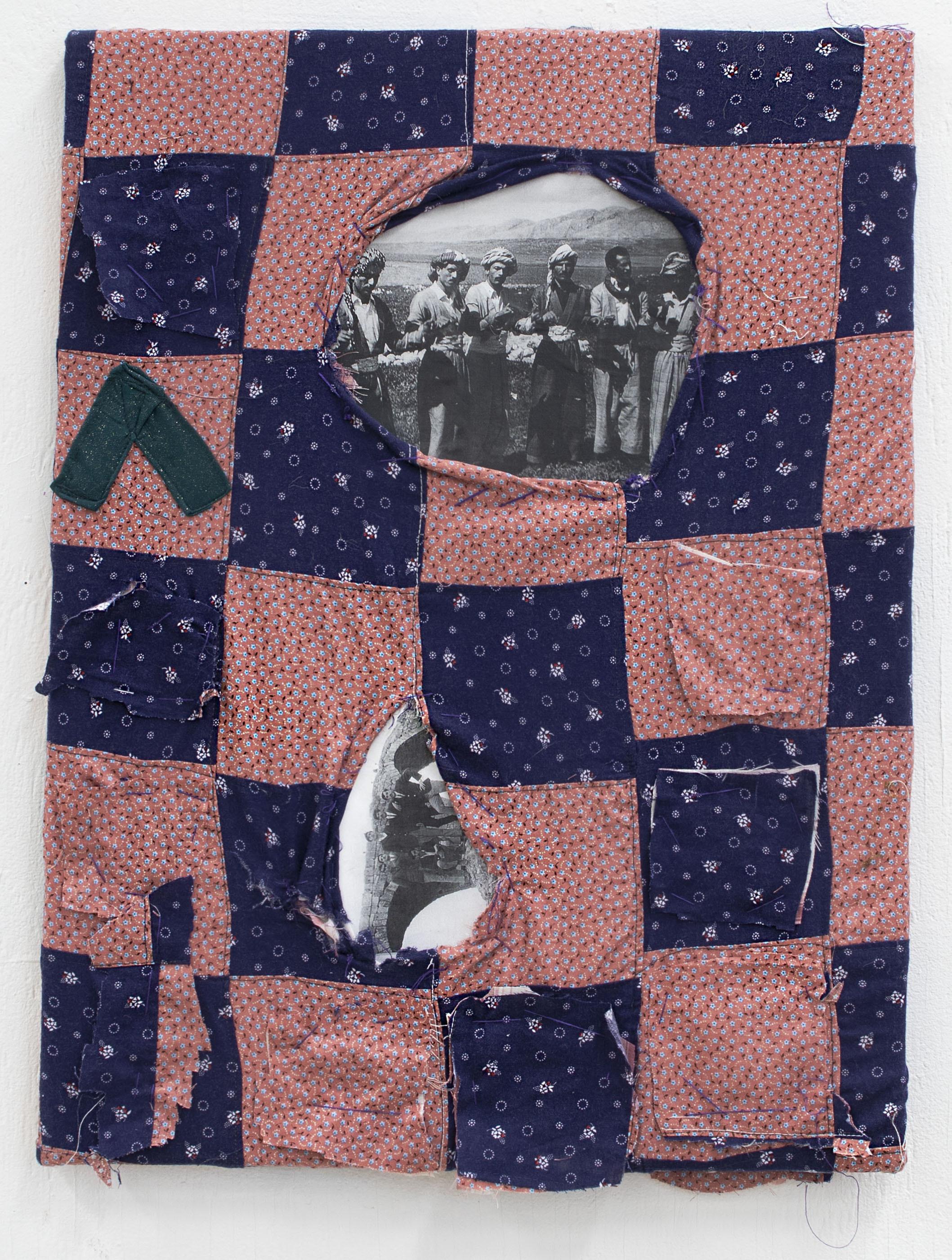 "Nuveen Barwari, Back to the land, found fabric, thread, canvas, xerox, 18"" x 24"", 2021"