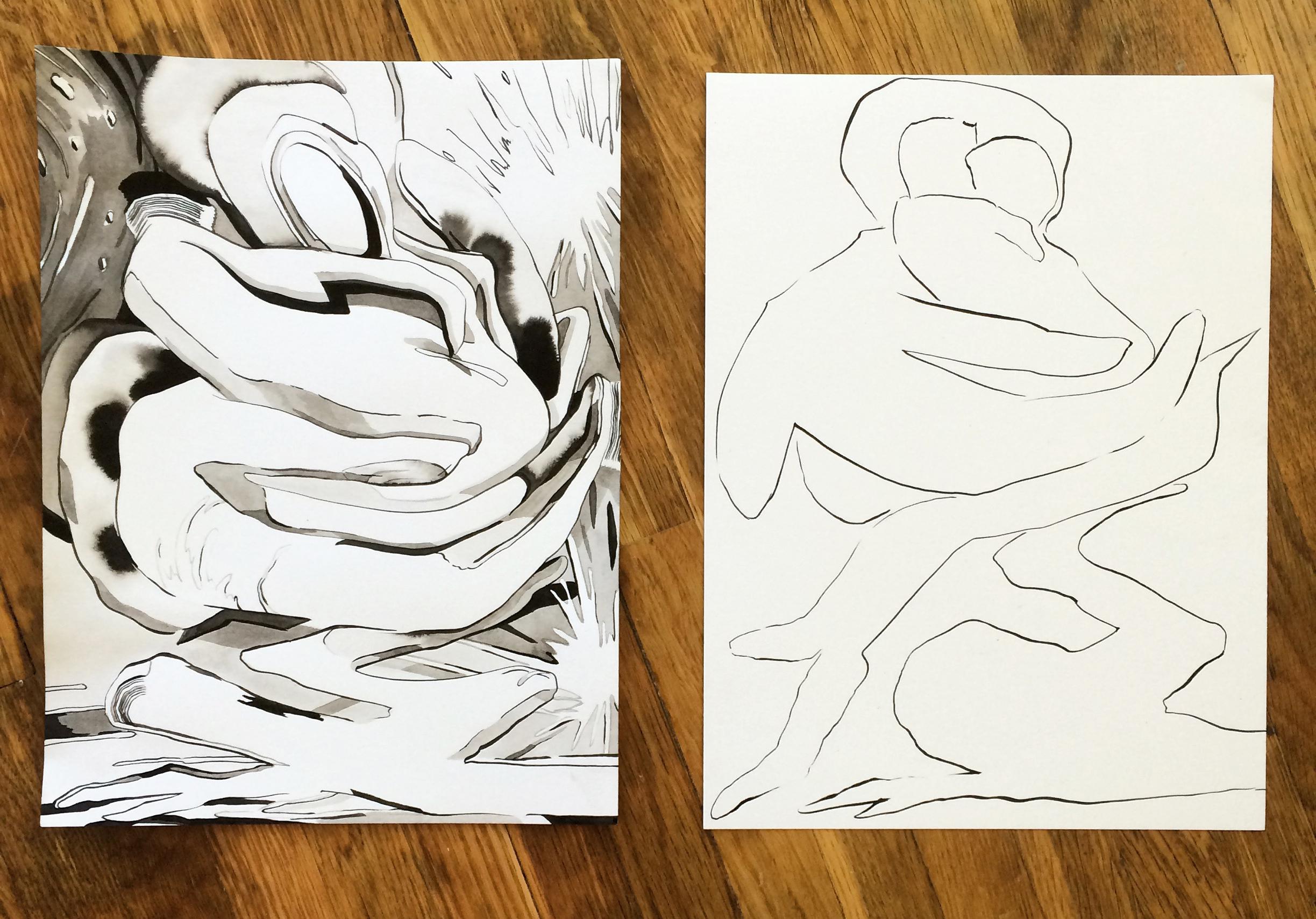 Karen Seapker, Ink drawings, 2016