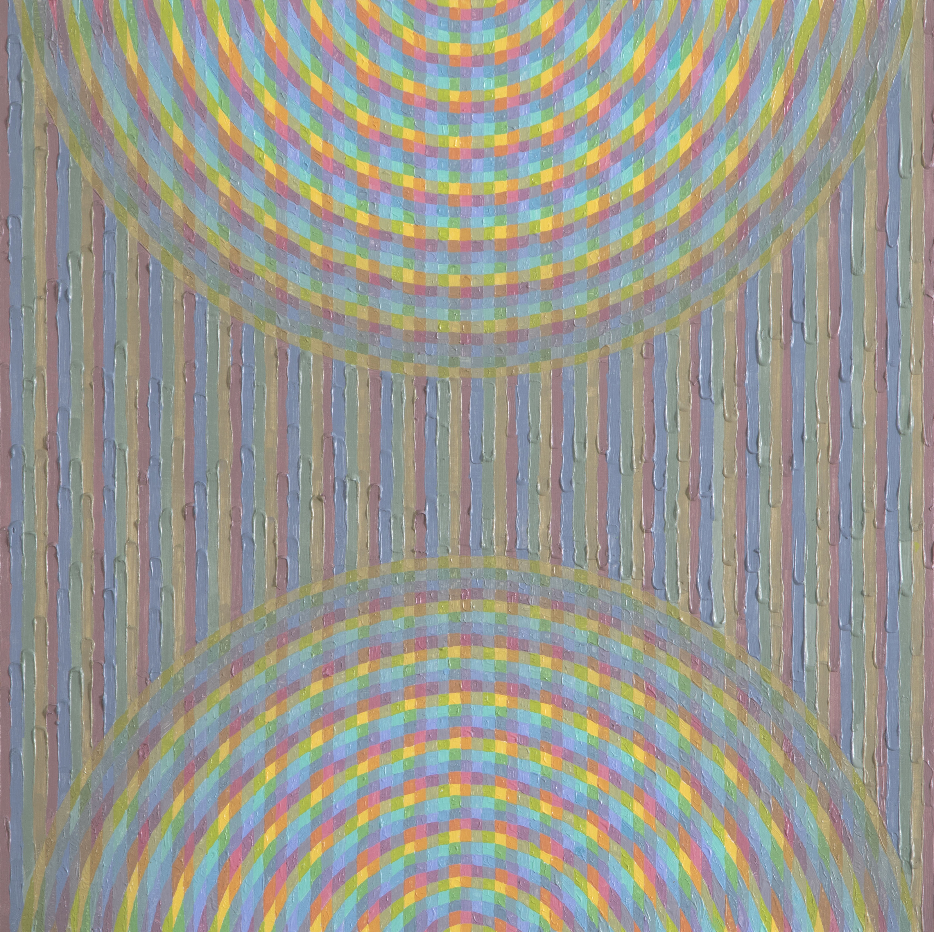 """Brianna Bass, Double Interference Ripple, Acrylic paint on cradled panel, 16"""" x 16"""", 2019"""