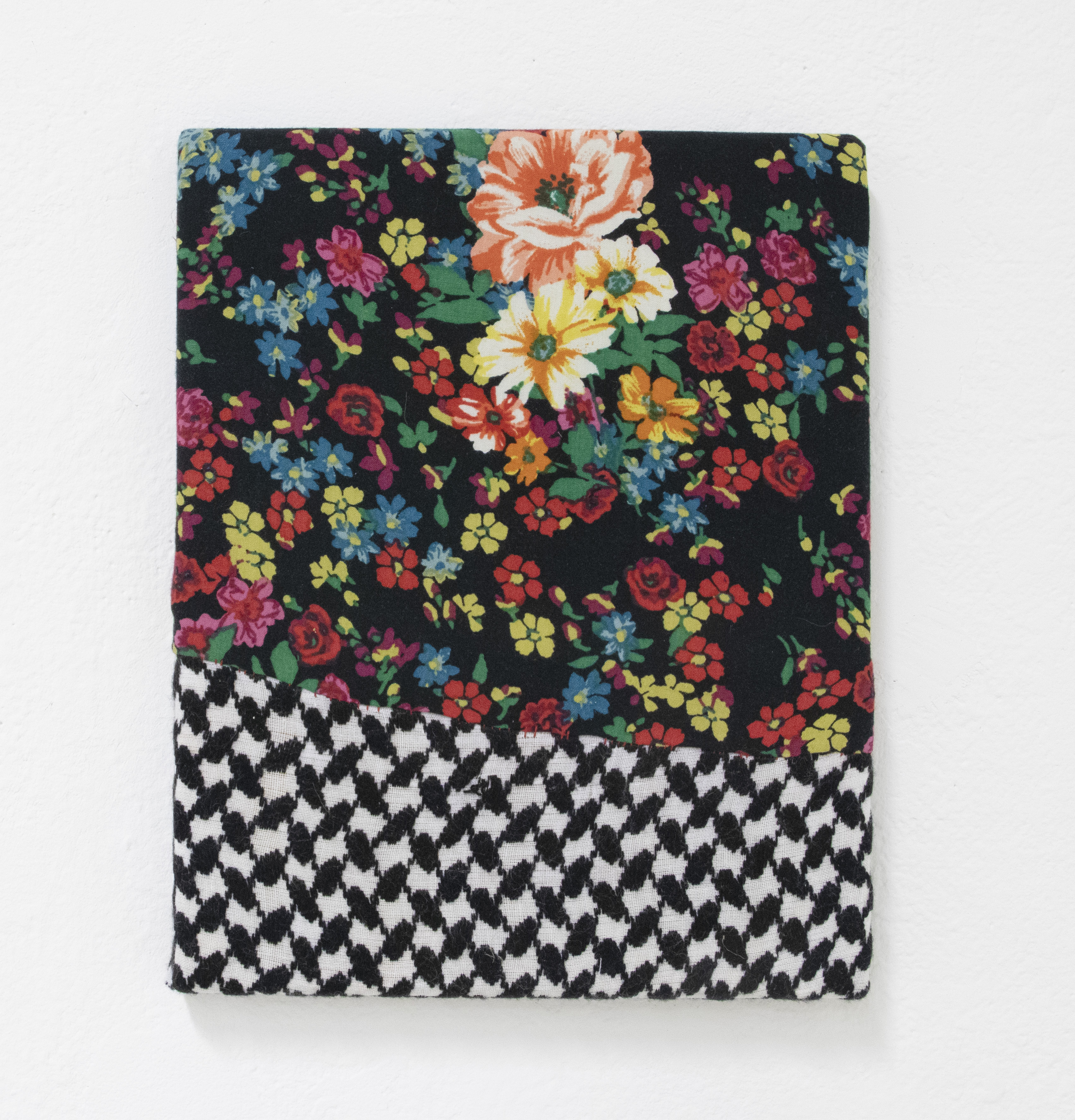 """Nuveen Barwari, """"He reminded me that the flowers in-front of me have a scent too"""", old dress, dad's old scarf, thread, 8"""" x 10"""", 2021"""