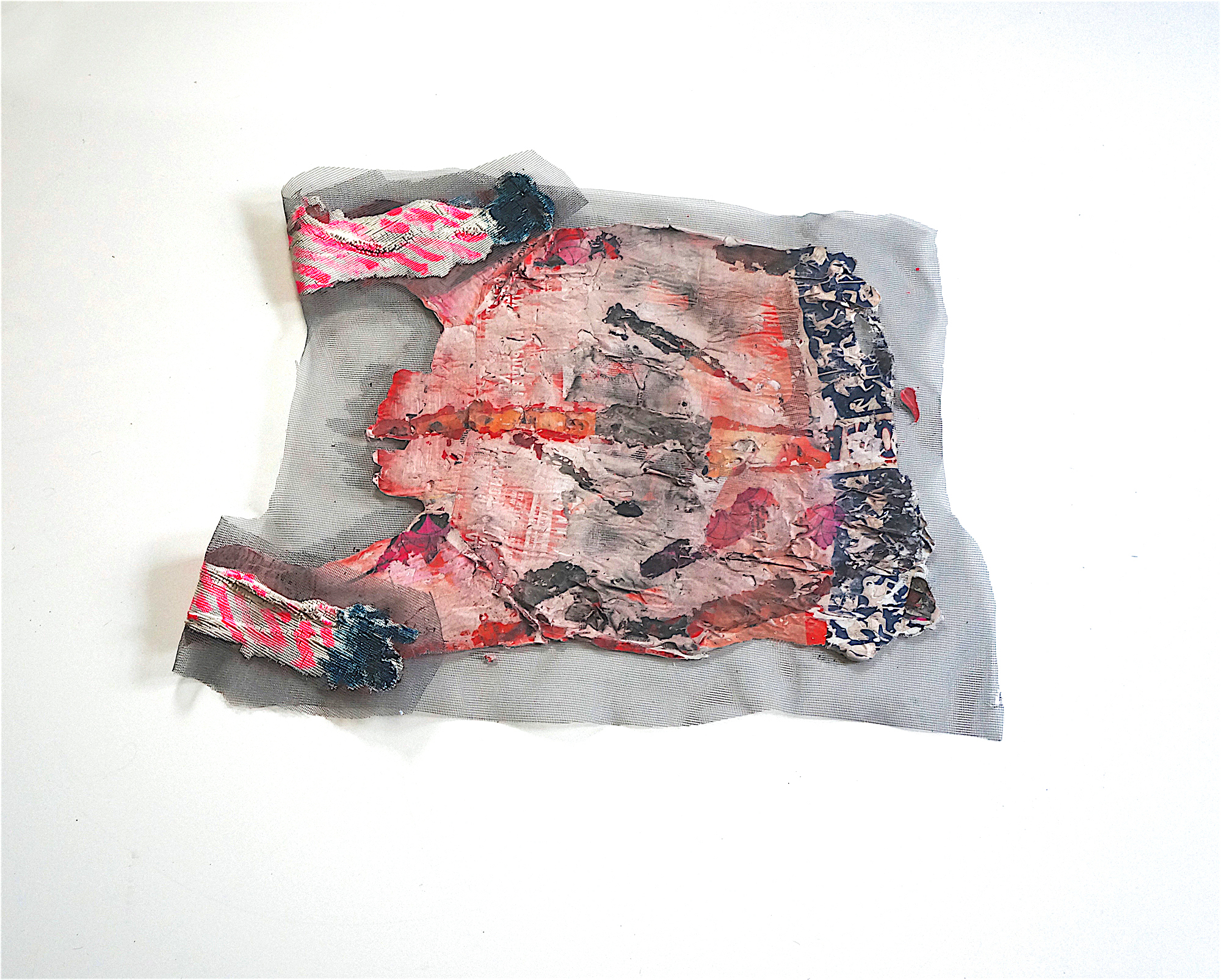 Eleanor Aldrich, Floor Sweater, caulking, paper, acrylic and ink on screen, approx. 20 x 14 inches, 2017