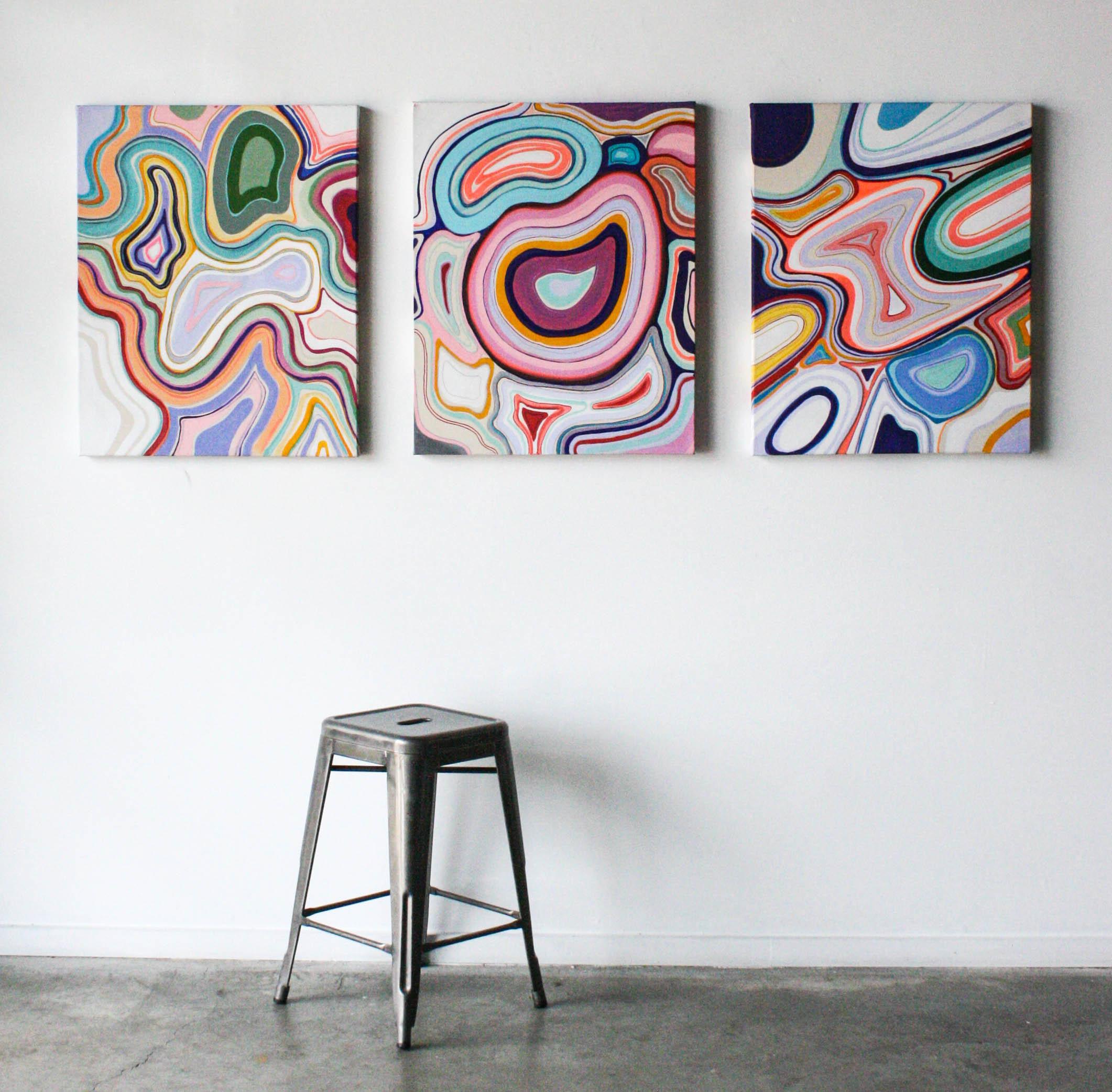 """Duncan McDaniel, Chroma Rapport, 2020, 30""""x 84"""" (triptych), acrylic on canvas"""