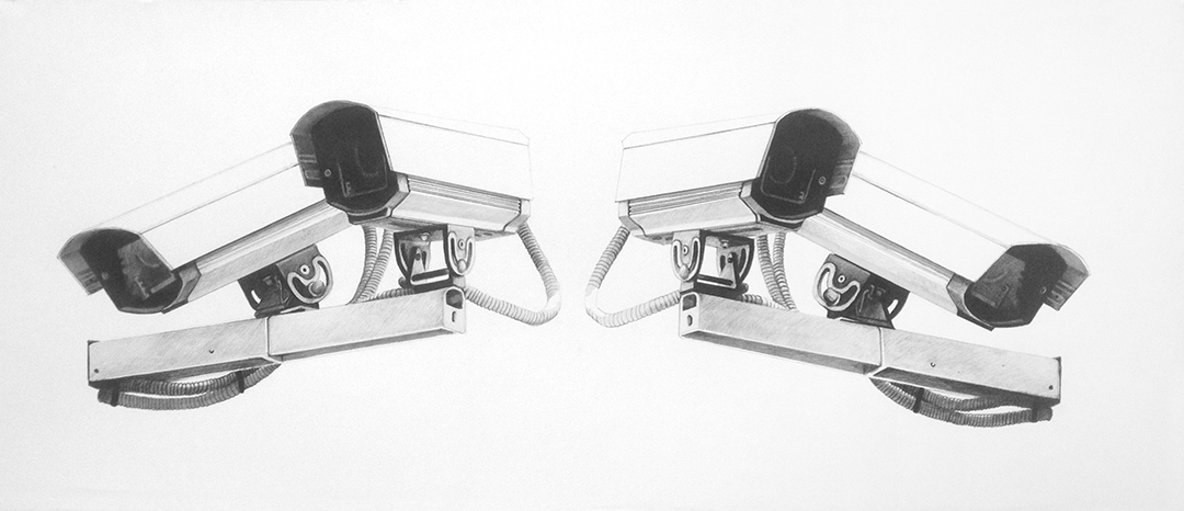 Nelson Gutierrez, CCTV. Ink and pencil on paper, 2014.
