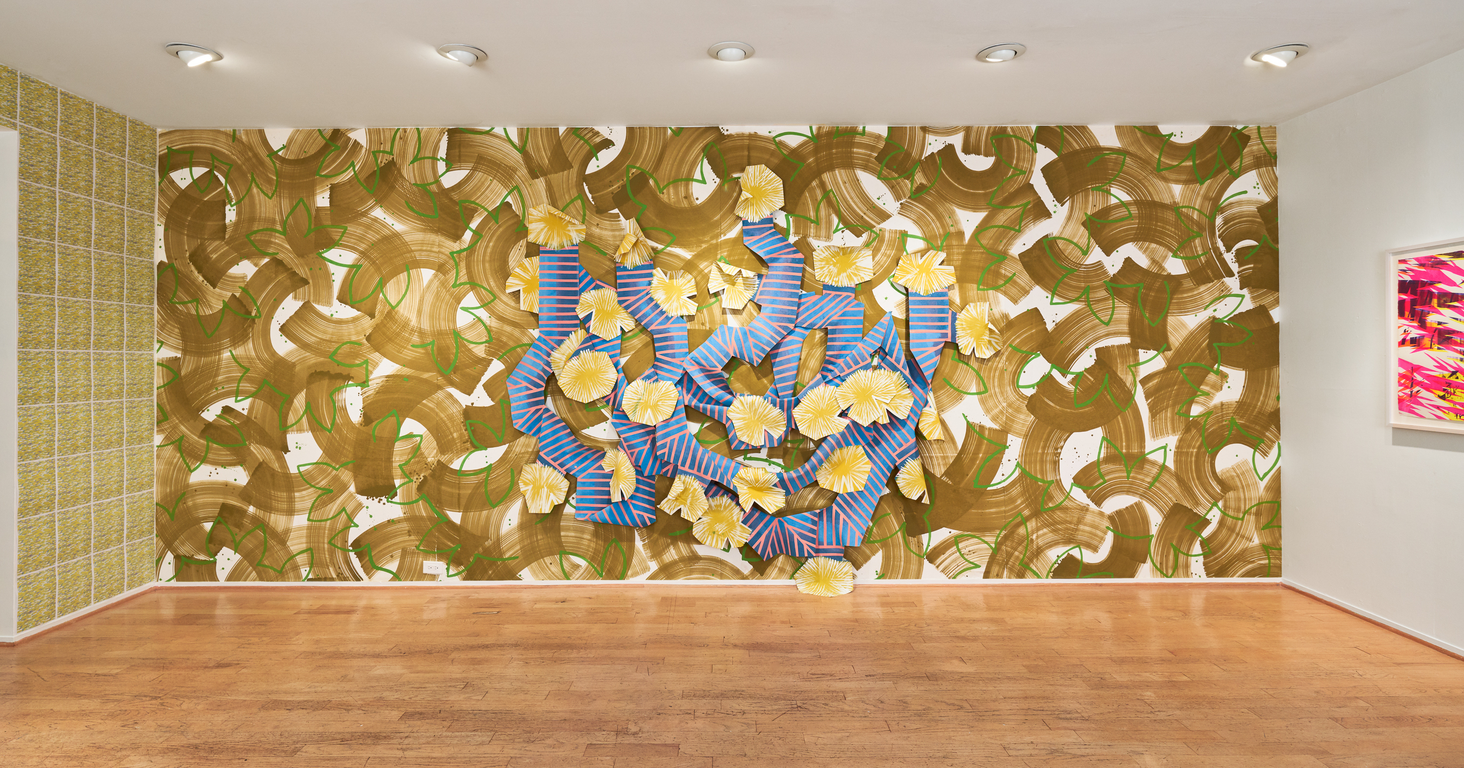 Sloppy Espalier, 2018; Installation for MILIEU: Erin Harmon and Devon Tsuno, LAUNCH, Los Angeles; Painted muslin wall covering, painted and cut muslin garland, wood blocks, painted magnets Approx. 670.56cm x 274.32cm