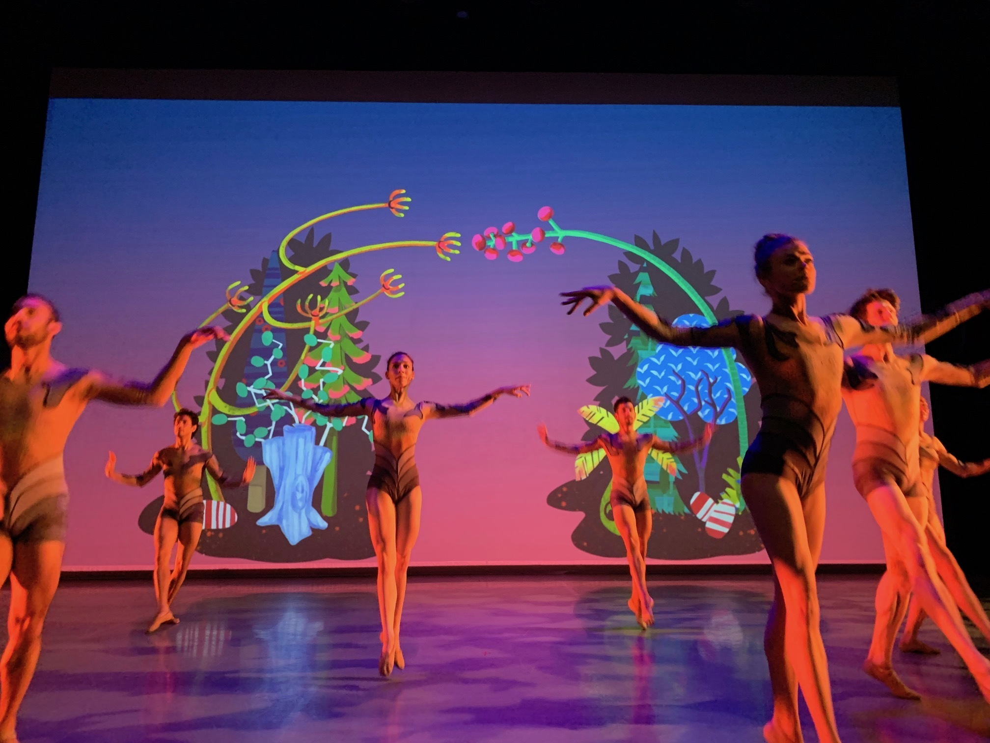 Flyway (2019) 17 minute animation, projection; collaboration with Kyle Statham; commissioned for Ballet Memphis performance Spring Mix; based on 2014 set design by Erin Harmon