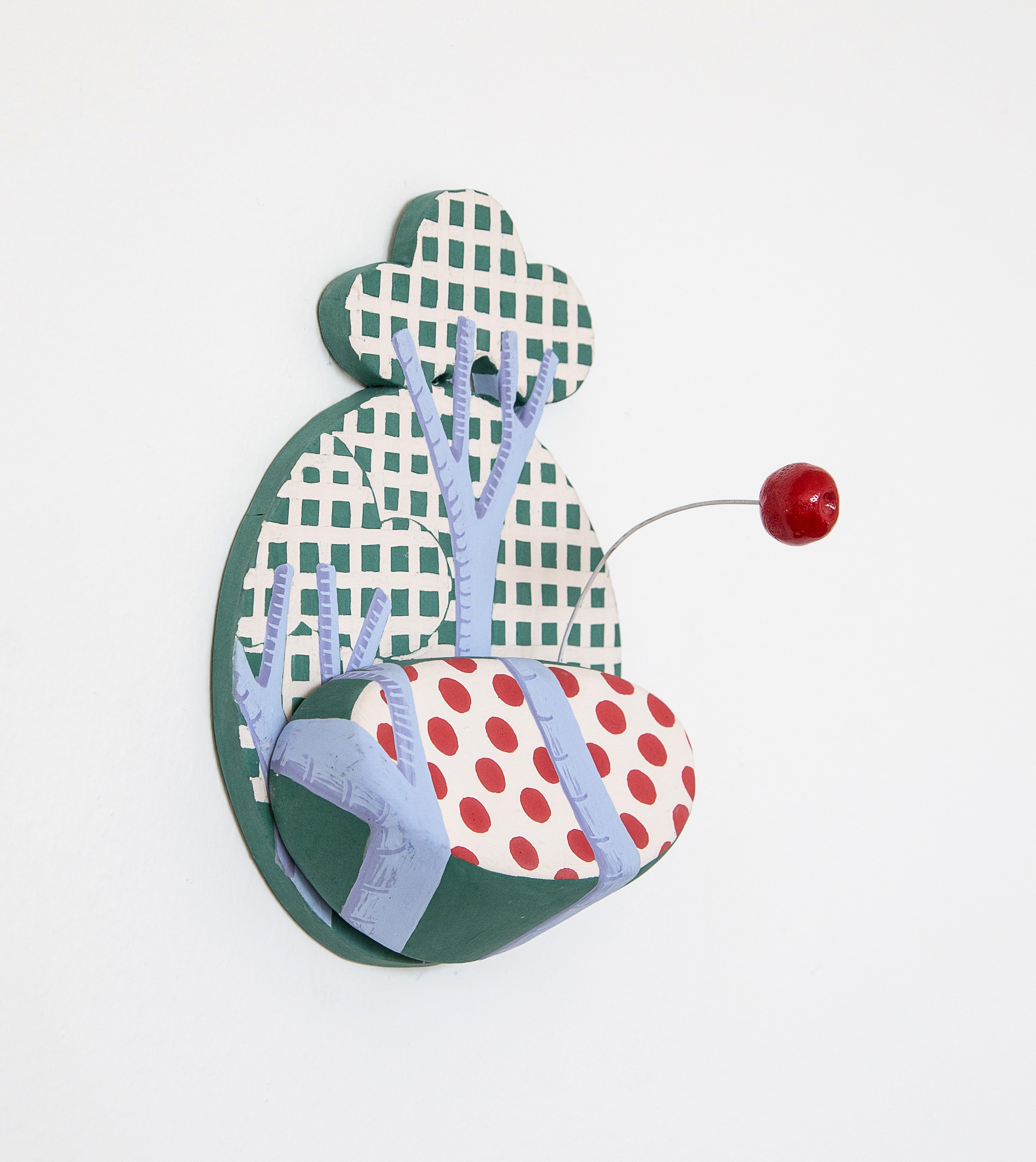 Shifty Rickrack with Boing, 2017 (side view); Porcelain tile, shelf, and appendage with wire; 18.41 x 15.24 x 10.16cm