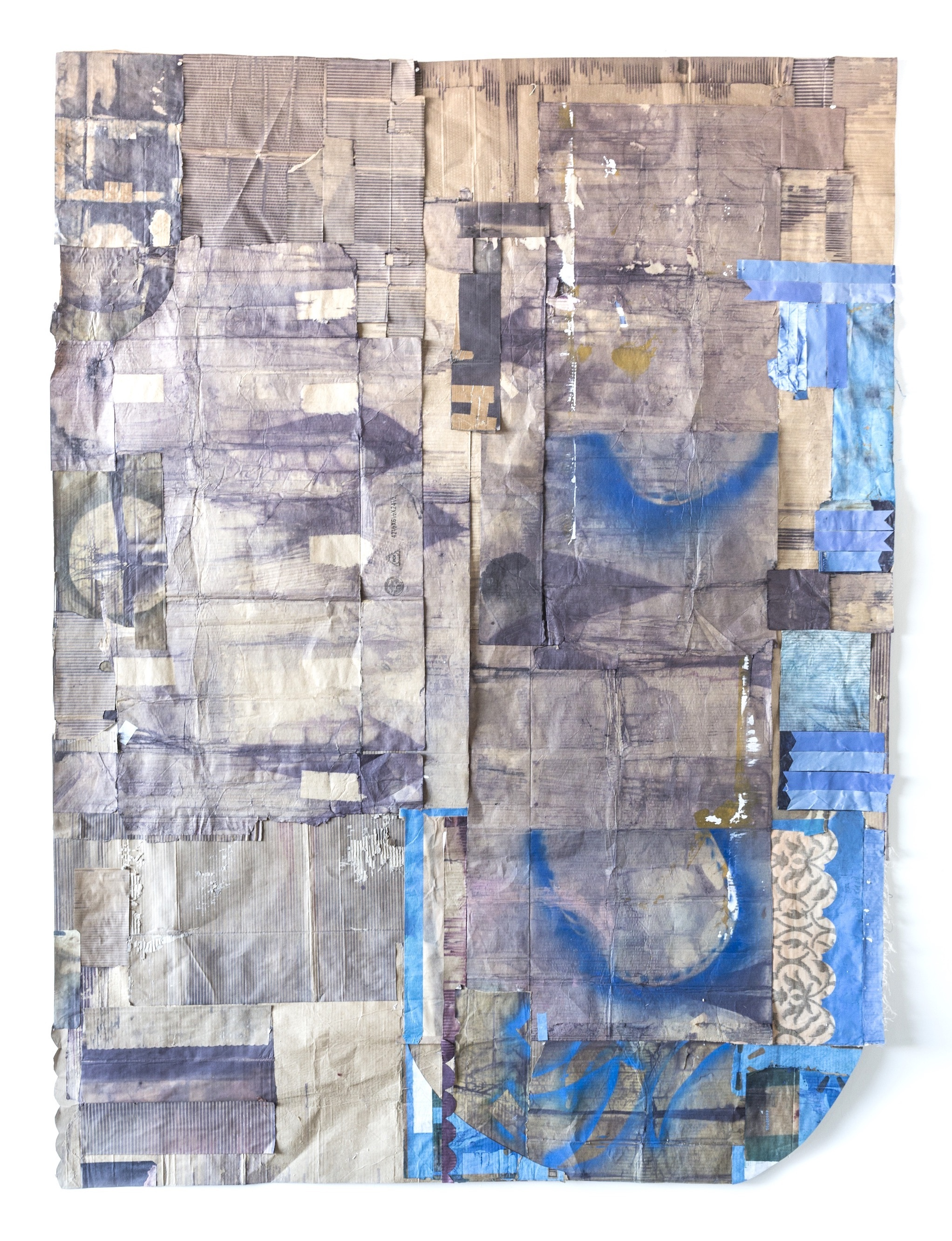 """Jodi Hays, Deposition, 115"""" x 86"""" (2021), oil, dye, fabric, acrylic, spray enamel, paper (images courtesy of the artist and Sam Angel Photography)"""