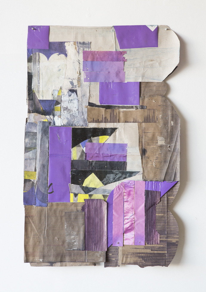 """Jodi Hays, Iris, 40"""" x 25"""" (2021), dye, oil, canvas ribbon, paper (images courtesy of the artist and Sam Angel Photography)"""