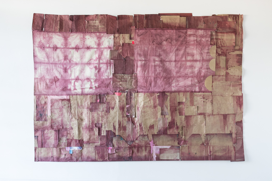 """Jodi Hays, Prometheus, 130"""" x 92"""" (2021), dye, paper, tape, cardboard, fabric (images courtesy of the artist and Sam Angel Photography)"""