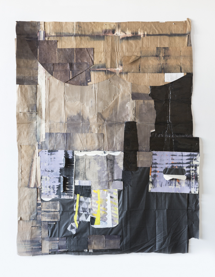 """Jodi Hays, Steps to the Altar, 96"""" x 74"""" (2021), oil, dye, spray enamel, canvas, fabric, paper (images courtesy of the artist and Sam Angel Photography)"""