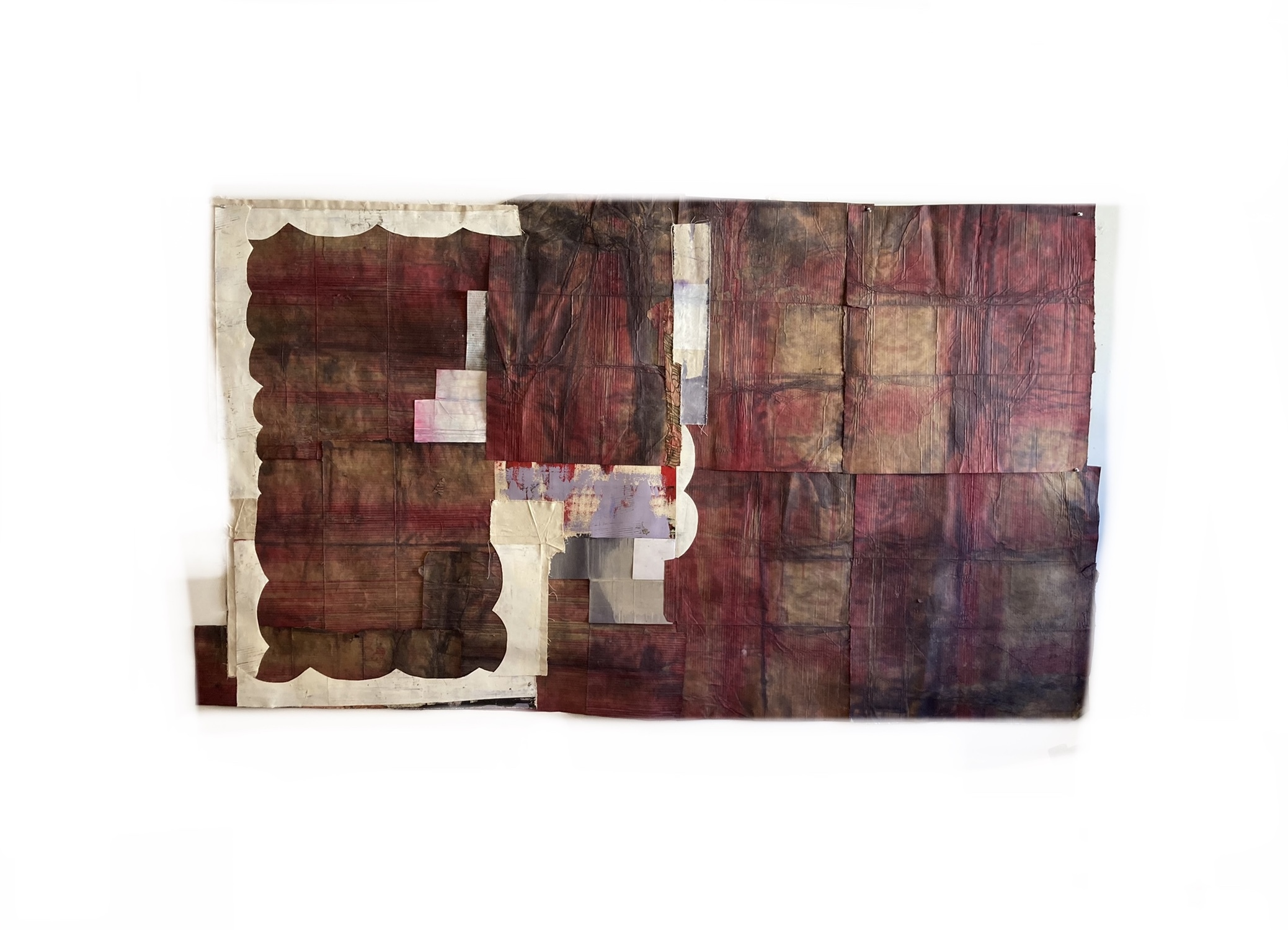 """Jodi Hays, Listener, 51"""" x 100"""", canvas, dye, oil, fabric, paper (images courtesy of the artist and Sam Angel Photography)"""