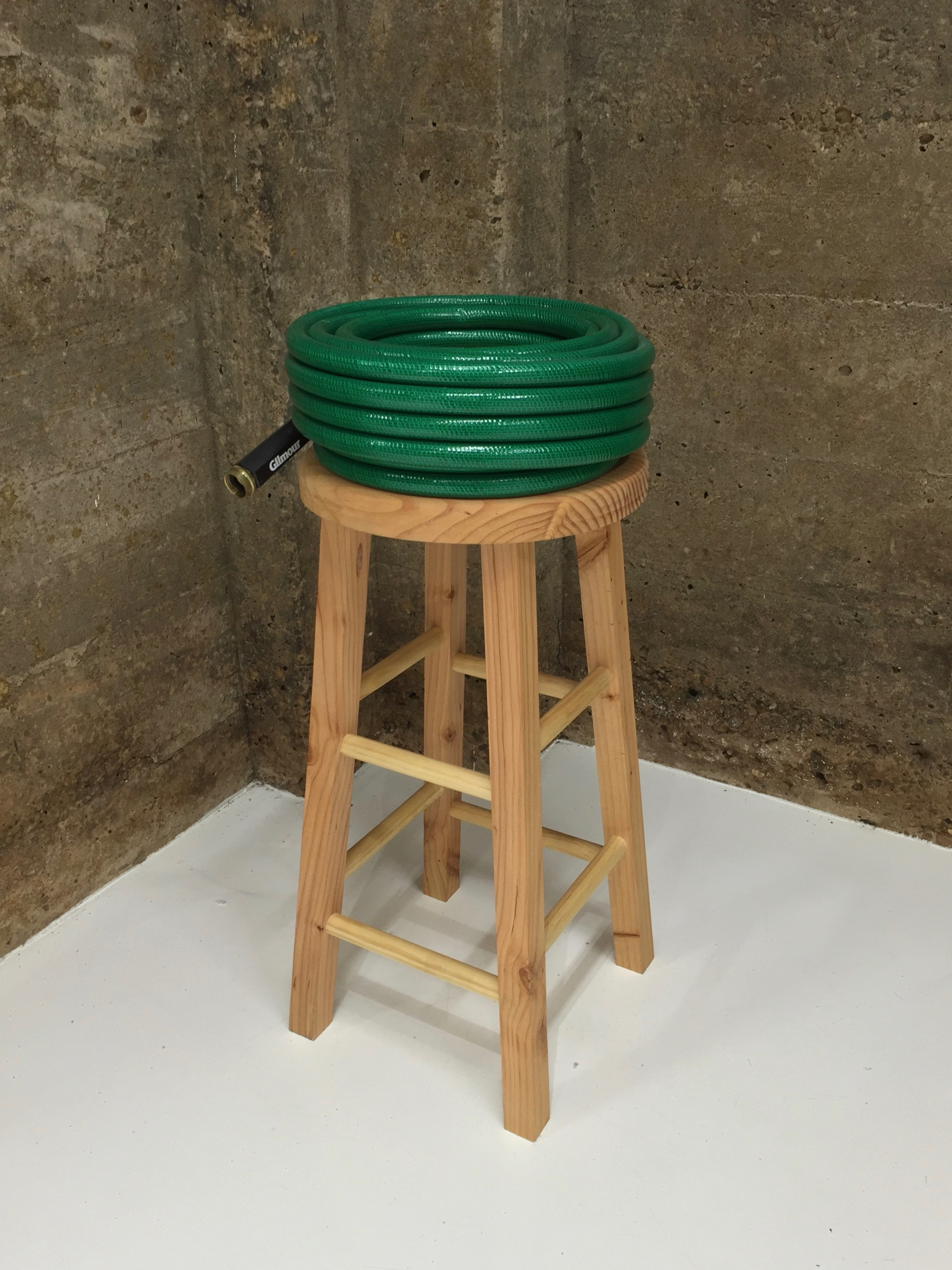 "Haynes Riley, Pedestal (#5), 2016, Wood, Garden Water Hose, 30"" x 12"" x 12"", from the An Attitude You Can Wear exhibition, Tops Gallery (June- August 2016)"