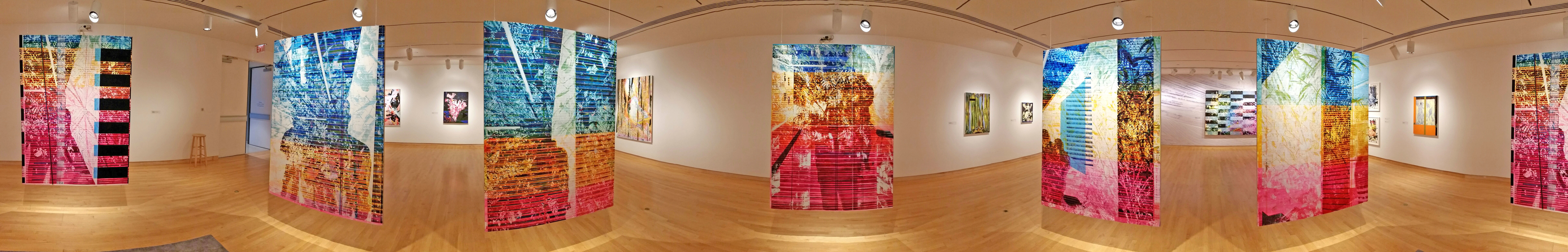 Jered Sprecher, 8.25 Minutes, six oil on linen paintings, wool rug, drawings on paper, various printed images on paper, and hanging hardware, Approximate Dimensions: 20' x 16' x 10', 2017. (Courtesy of Artist)