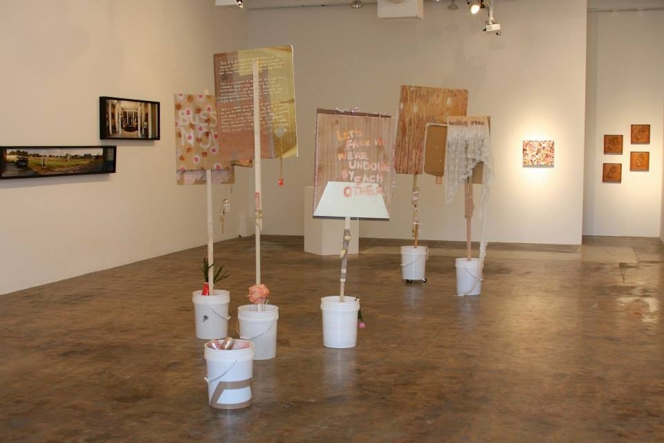 Joel Parsons, Otherwise Love's Body at Protest (bouquet), five signs for protest performance, mixed materials, installation view of You+Me at Crosstown Arts, 2015