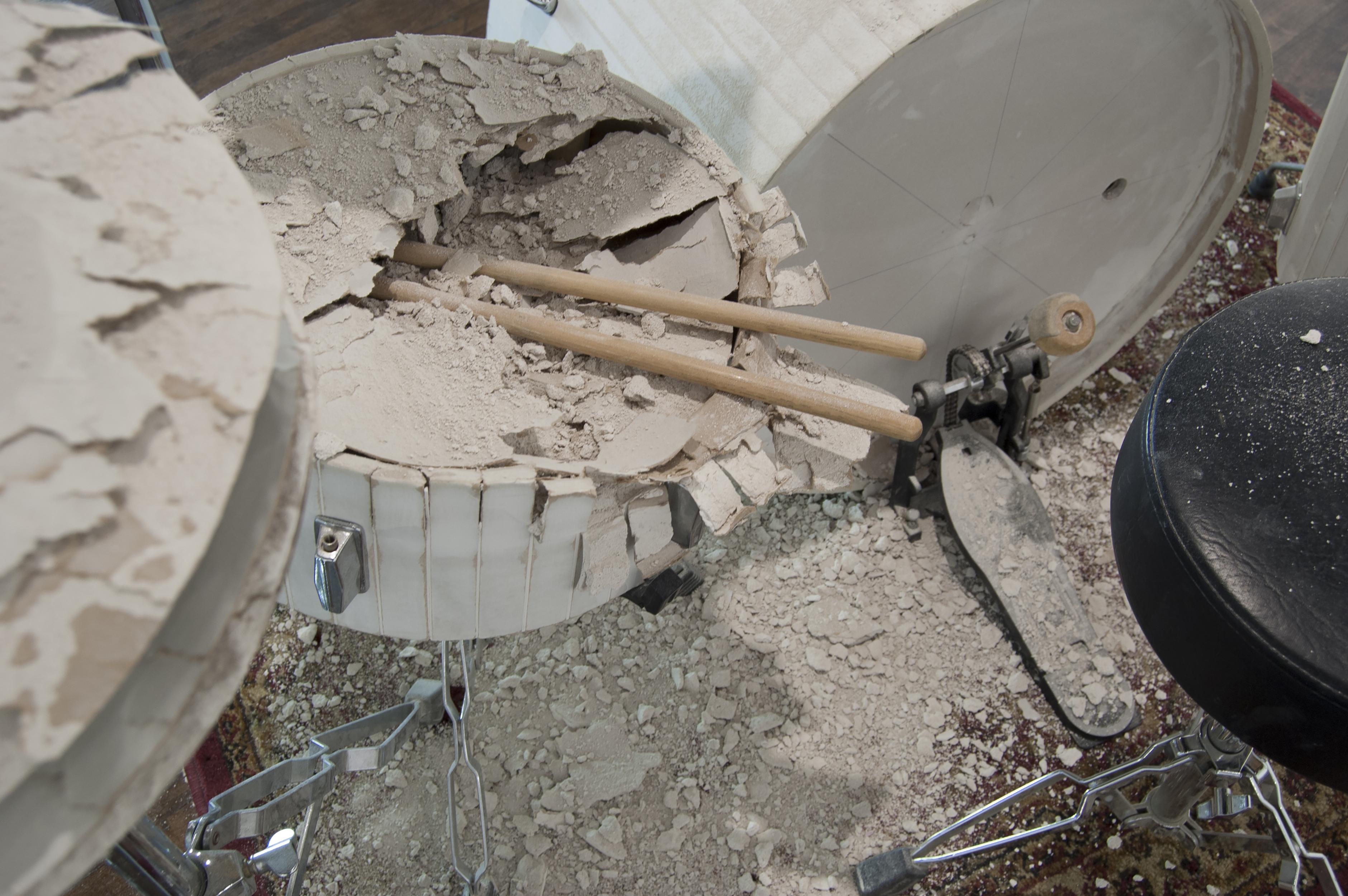 Scott Carter, Force Majeure (detail), drywall, drum set hardware (2013)