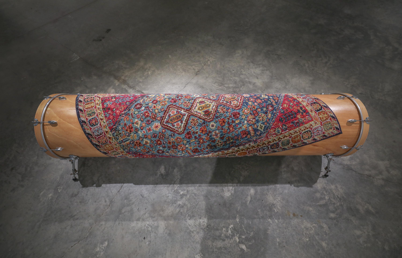 Scott Carter, Slouch, bendable plywood, drum set hardware, carpet (2019)- photo by Jamie Harmon