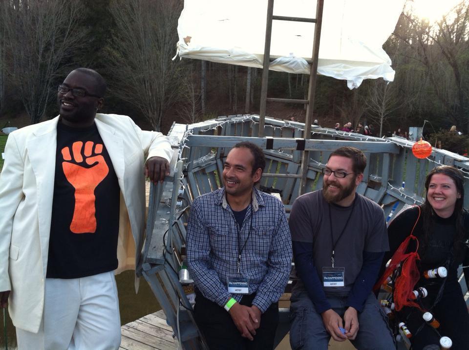 Spill (collaborators L-R: DeWayne 'B-Love' Barton, Victor Palomino, Michael Dickins, Eithne Laomainn), {Re}Happening, Black Mountain College, 2014