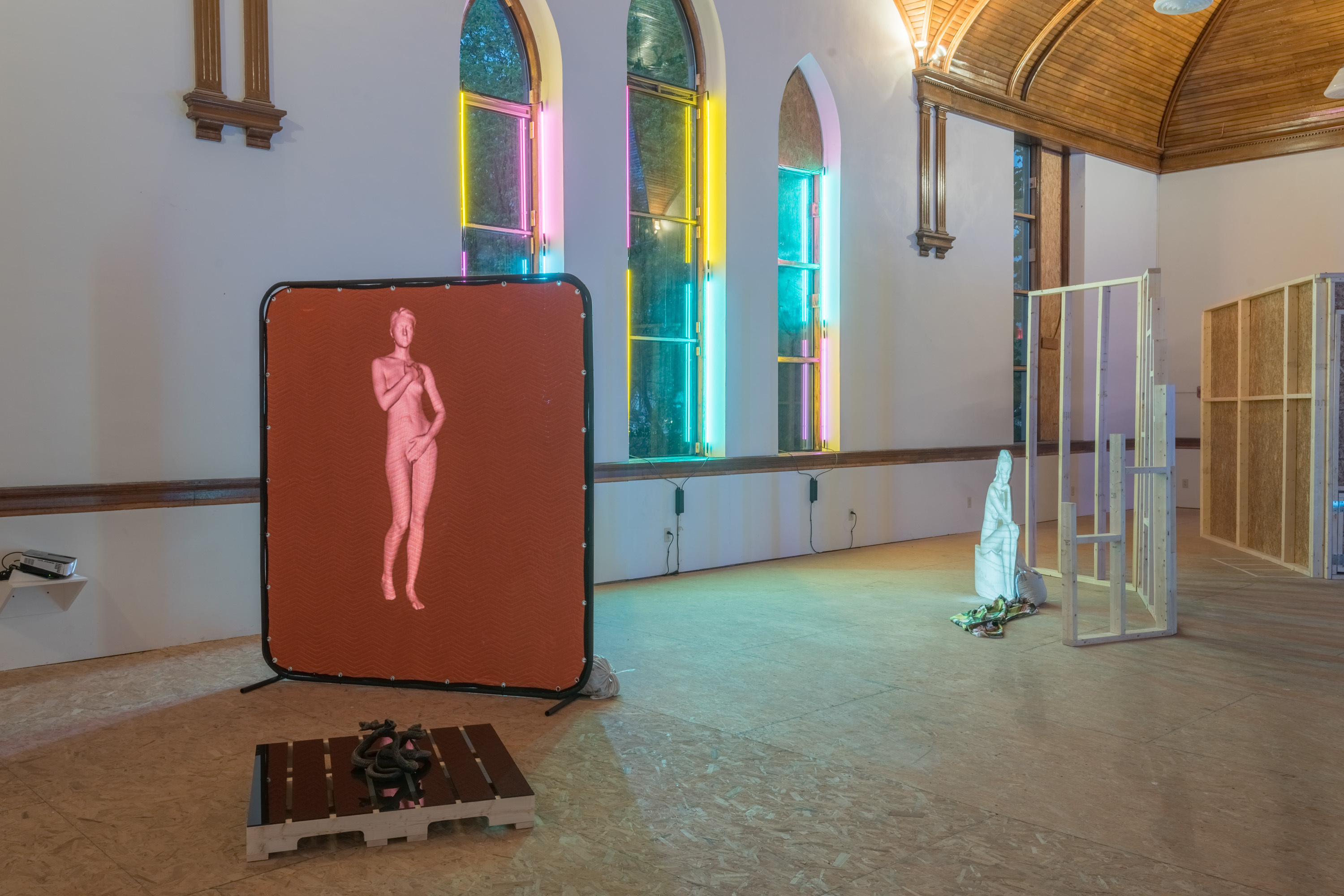 Sydni Gause, Subverting The Gaze, Installation, 3-d Body Scan, Glass, Wood, Light Media, Neon, Bronze, Moving Blanket, Silk, 2017