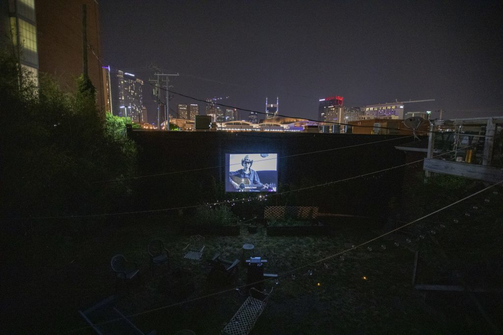Unrequited Leisure, outdoor screening of work by Myriam Jacob-Allard (Montreal), 2019. (Photo courtesy of UL)