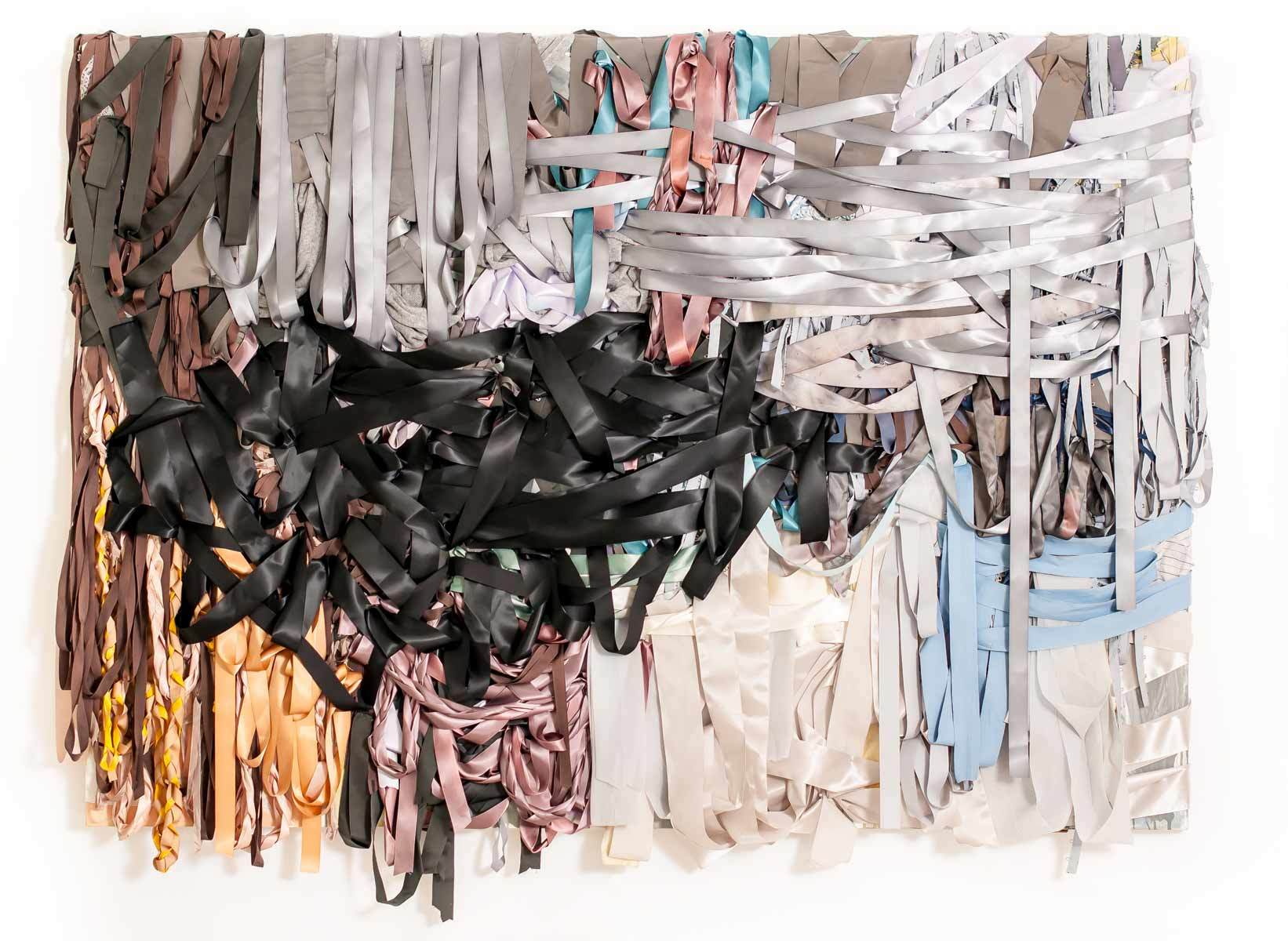 Vadis Turner, Storm Spot, 2013. ribbon, dyed textiles, acrylic paint and mixed media. 60 x 84 x 4 inches.